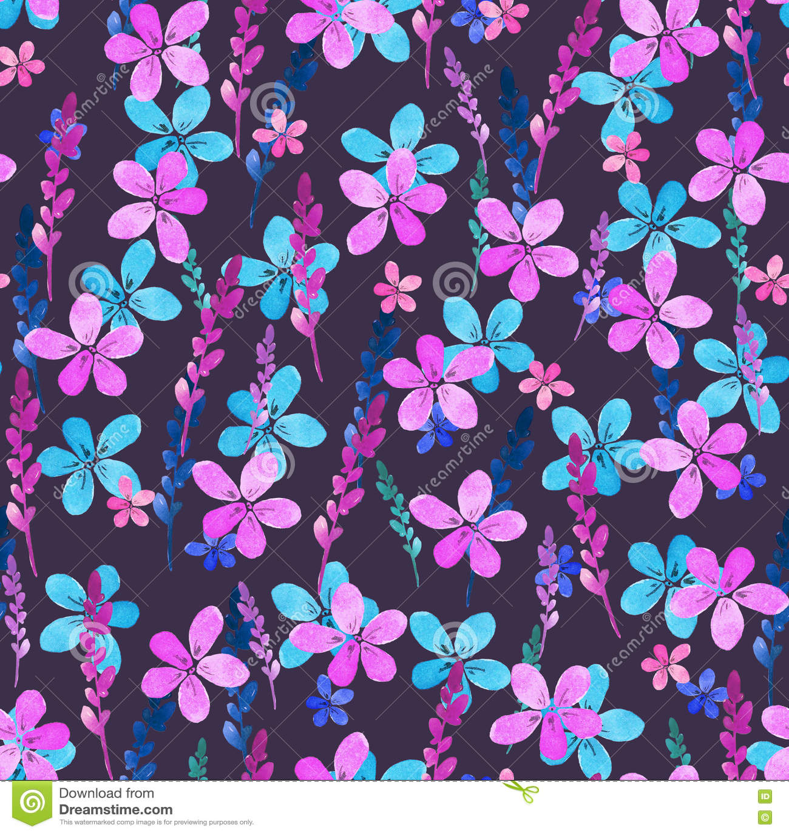 414a50567638 Nahtloses Blumenmuster mit blauen rosa Blumen und Blättern des Aquarells in  der Weinleseart auf violettem Hintergrund
