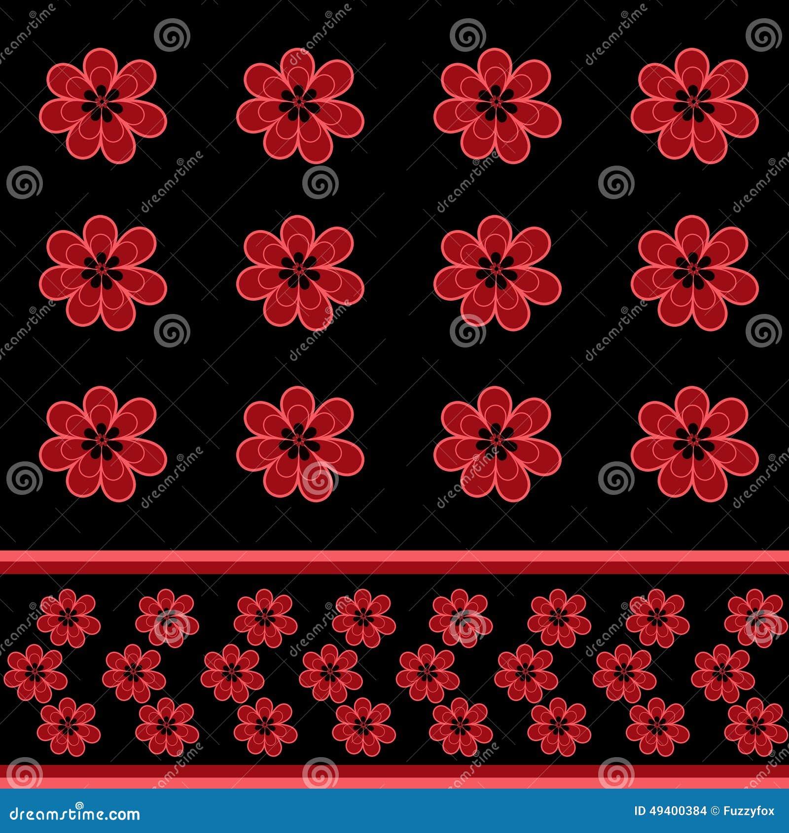 Download Nahtloses Blumenmuster Mit Rot Blüht Hintergrund Stock Abbildung - Illustration von fashion, hintergrund: 49400384