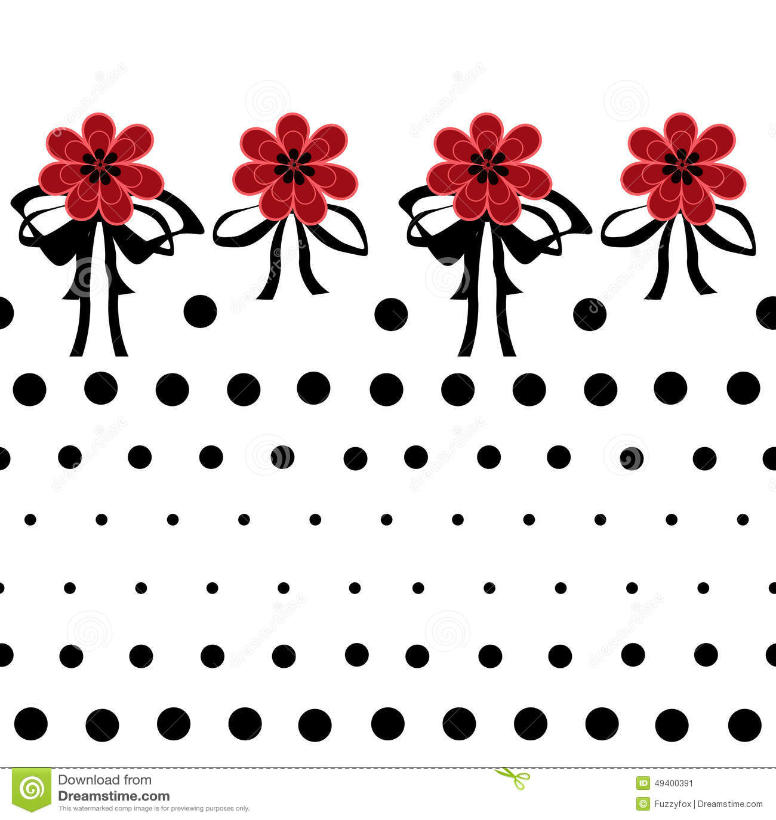 Download Nahtloses Blumenmuster Mit Roten Blumen Auf Weißem Hintergrundpunkt Stock Abbildung - Illustration von verzierung, punkte: 49400391