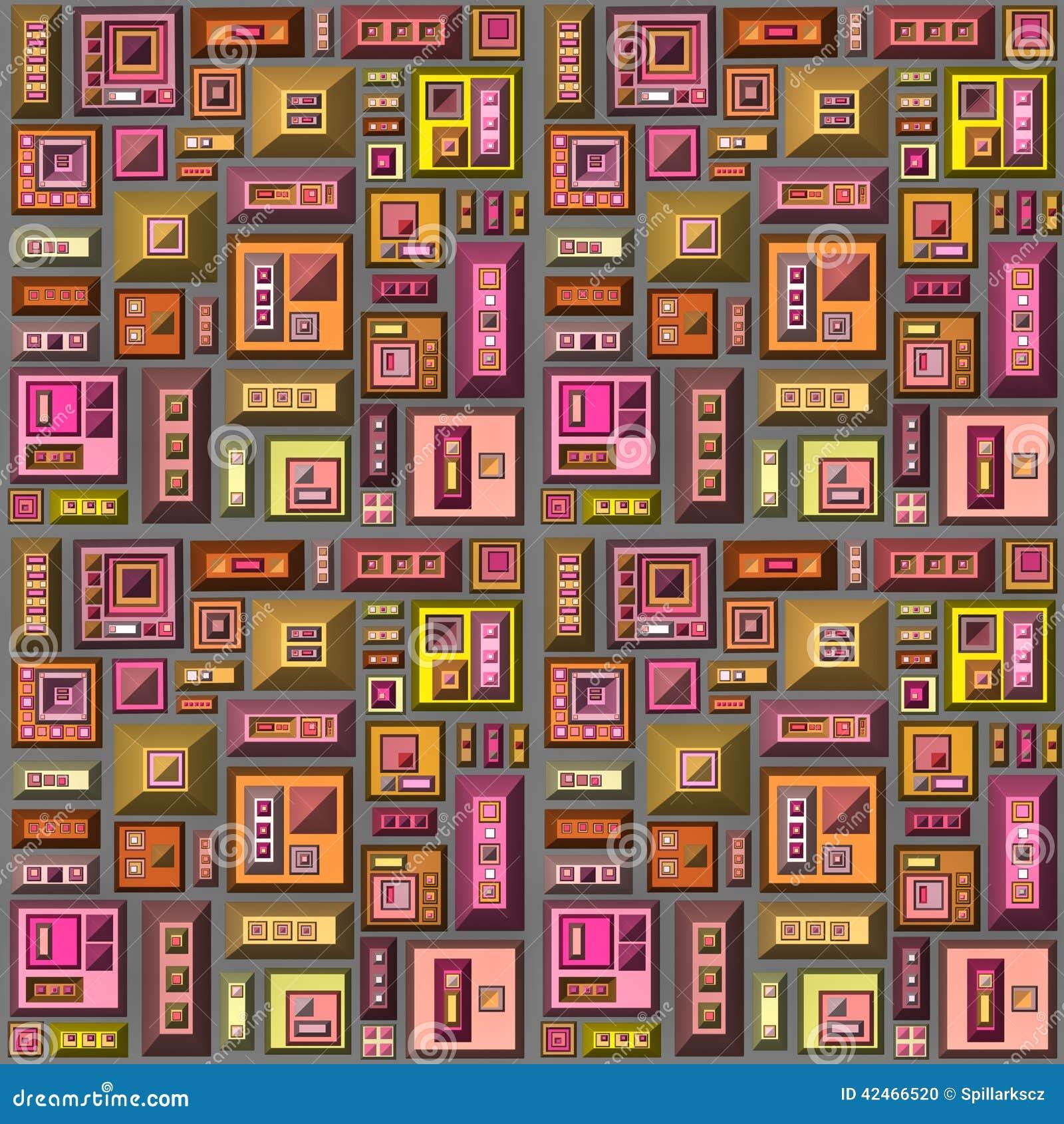 Nahtloses 3d stilisierte futuristische Stadt in der mehrfachen hellen Farbe