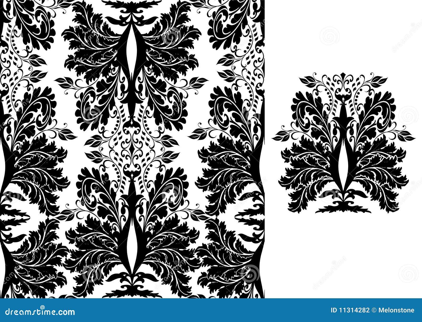 Nahtloses Damast-Muster-Schwarzes auf Weiß