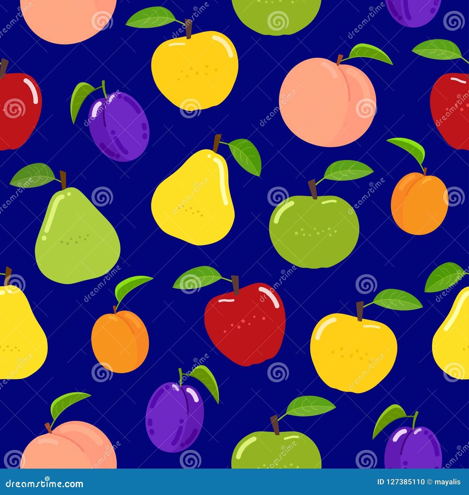 Nahtloses Fruchtmuster auf blauem Hintergrund