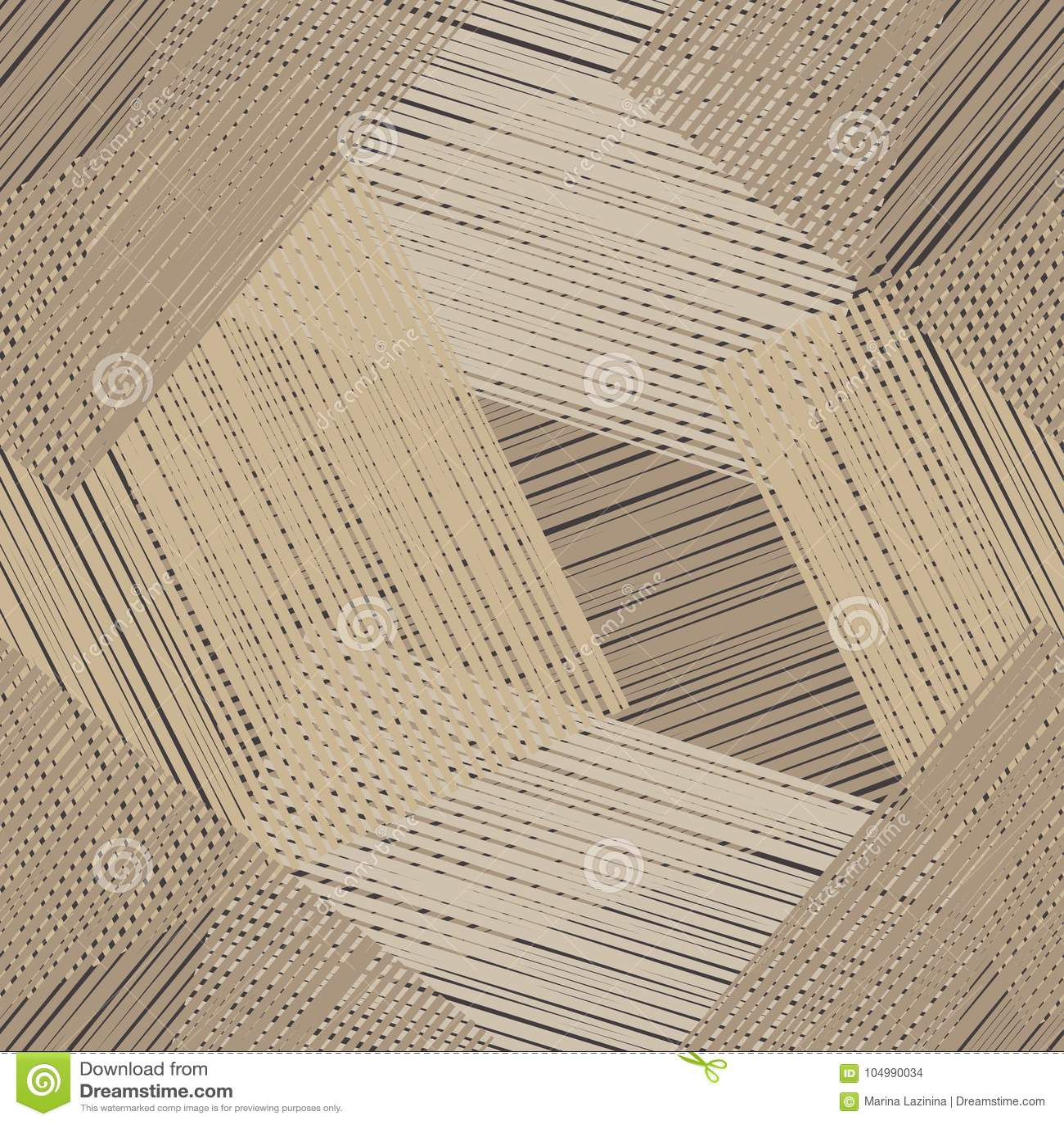 Nahtloses geometrisches Muster Brown-Boden mit hölzerner Beschaffenheit Gekritzelbeschaffenheit