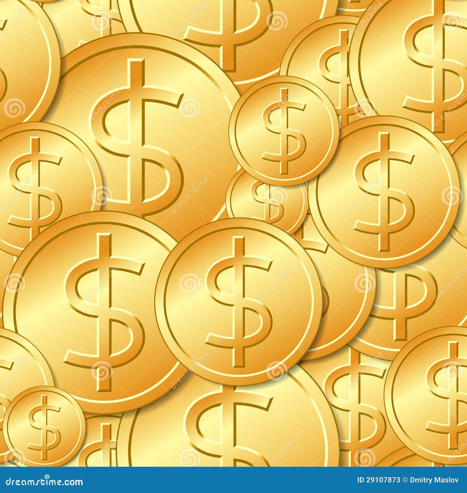 Nahtloses Golddollar Münzen Muster Vektor Abbildung Illustration