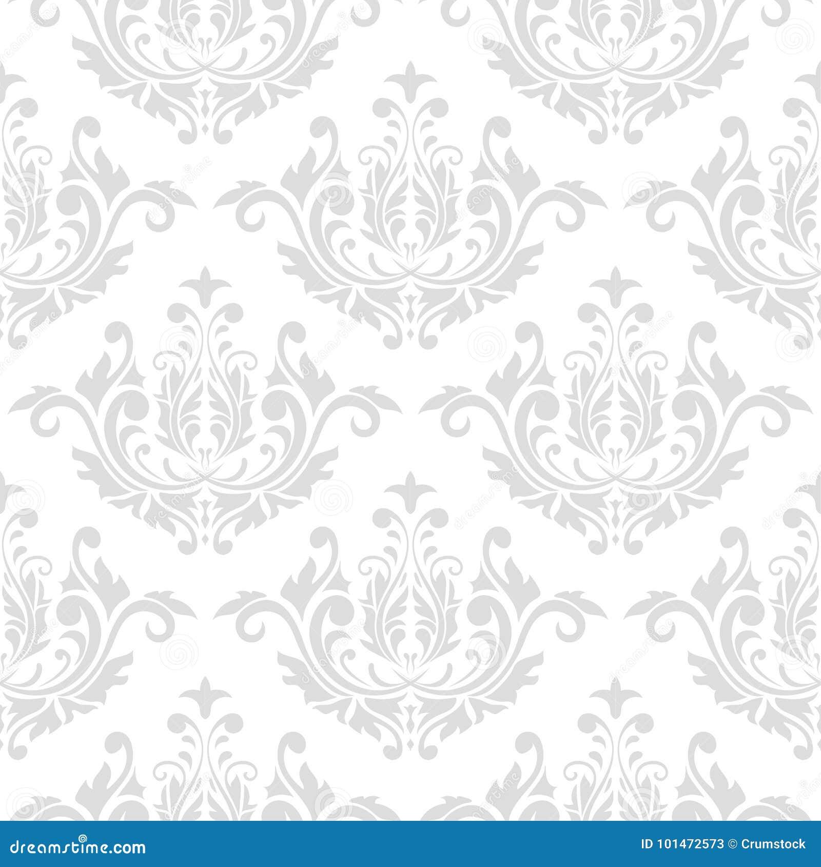 Nahtloses graues und weißes Muster mit Tapetenverzierungen