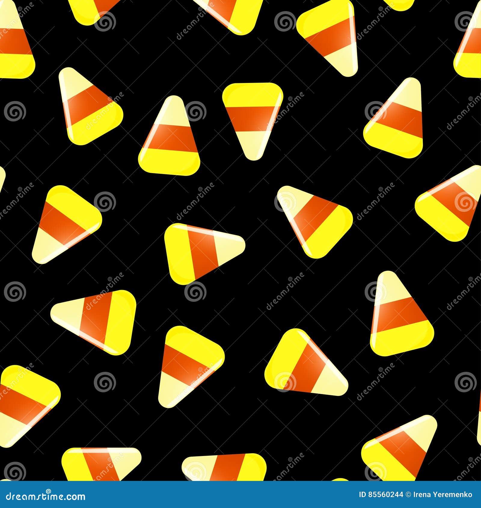 Nahtloses Halloween-Muster mit Süßigkeiten auf Schwarzem