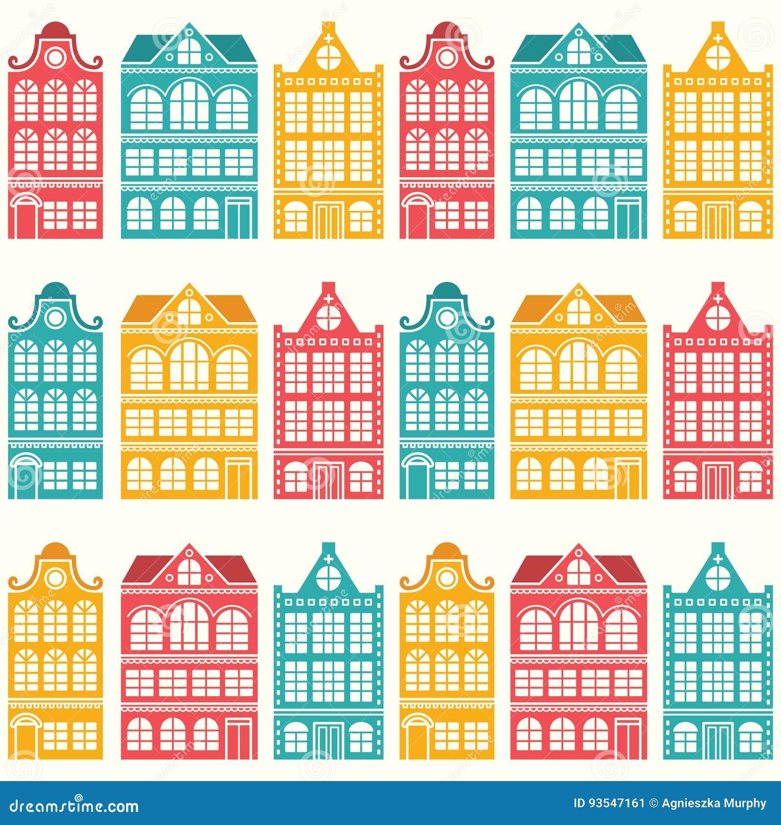 Charmant Download Nahtloses Hausmuster   Holländer, Amsterdam Häuser, Moderne Art  Der Mitte Des Jahrhunderts