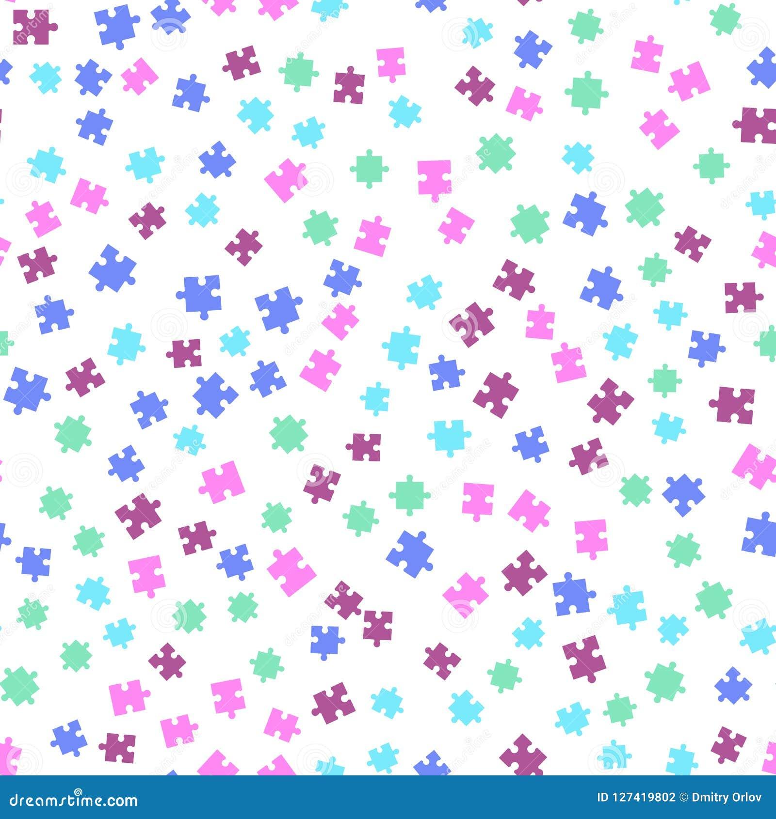 Nahtloses Hintergrundmuster des bunten Puzzlespiels Vektorabbildung getrennt auf weißem Hintergrund