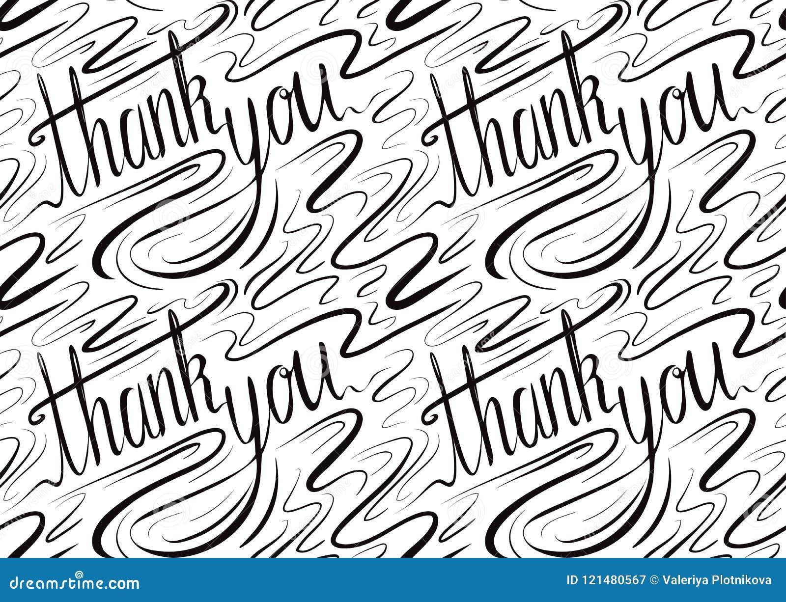 Nahtloses Kalligraphisches Muster Mit Der Aufschrift Danken Ihnen