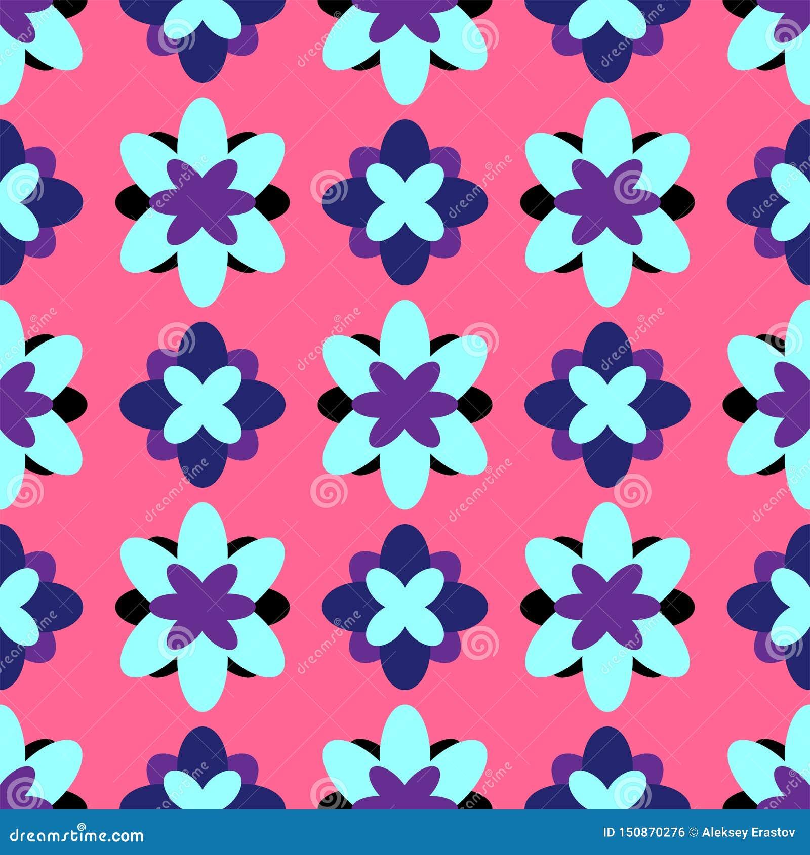 Nahtloses mit Blumenmuster Bunter Mädchendruck mit abstrakten Blumen Auch im corel abgehobenen Betrag Rosa, purpurrot, schwarz, b