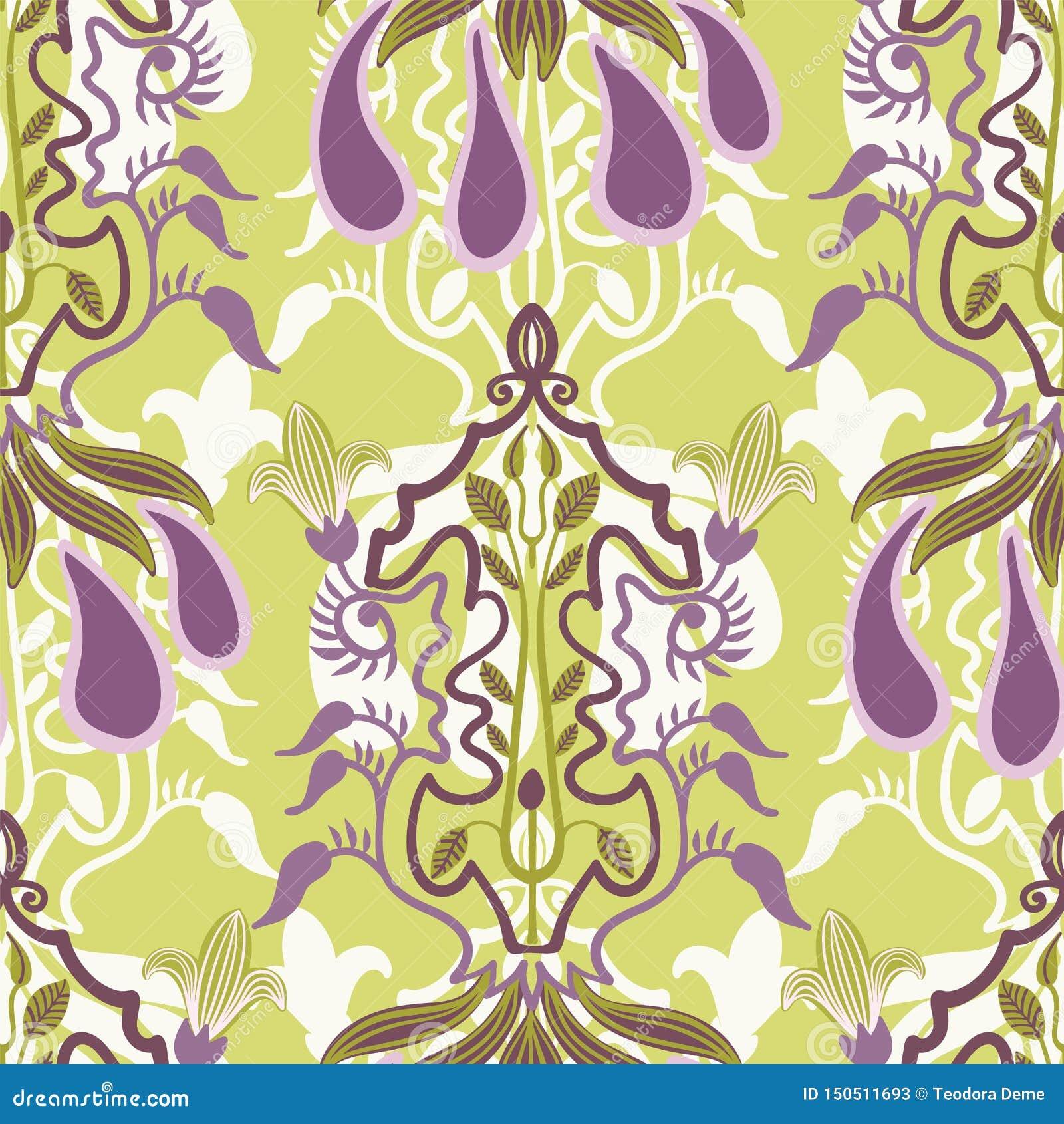 Nahtloses mit Blumenmuster des Vektors in Art Nouveau-Art