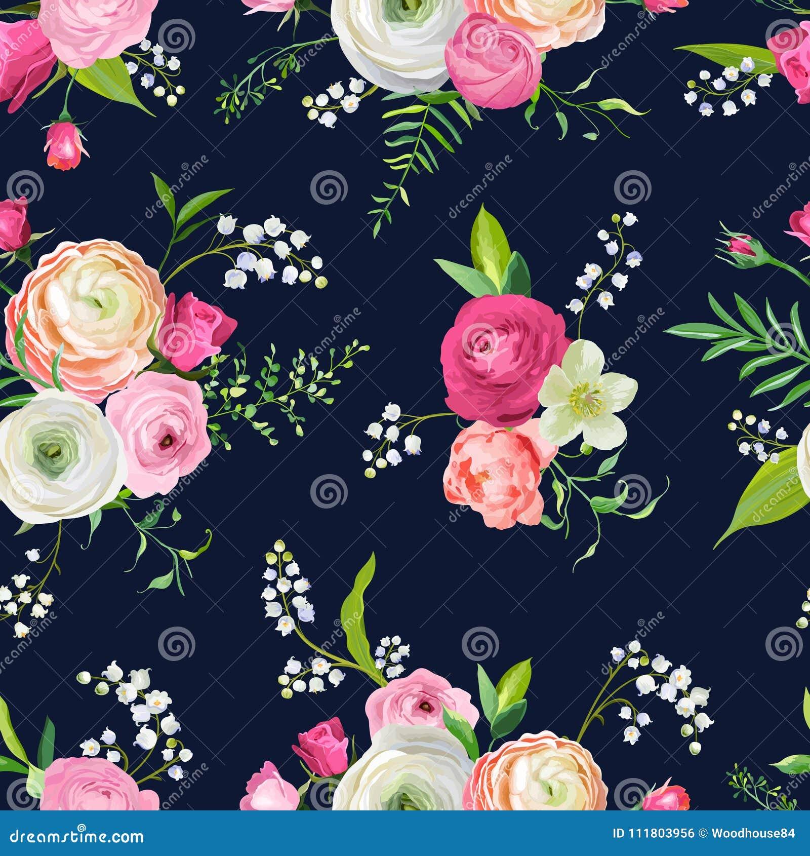 Nahtloses mit Blumenmuster mit rosa Blumen und Lilie Botanischer Hintergrund für Gewebe-Gewebe, Tapete, Packpapier