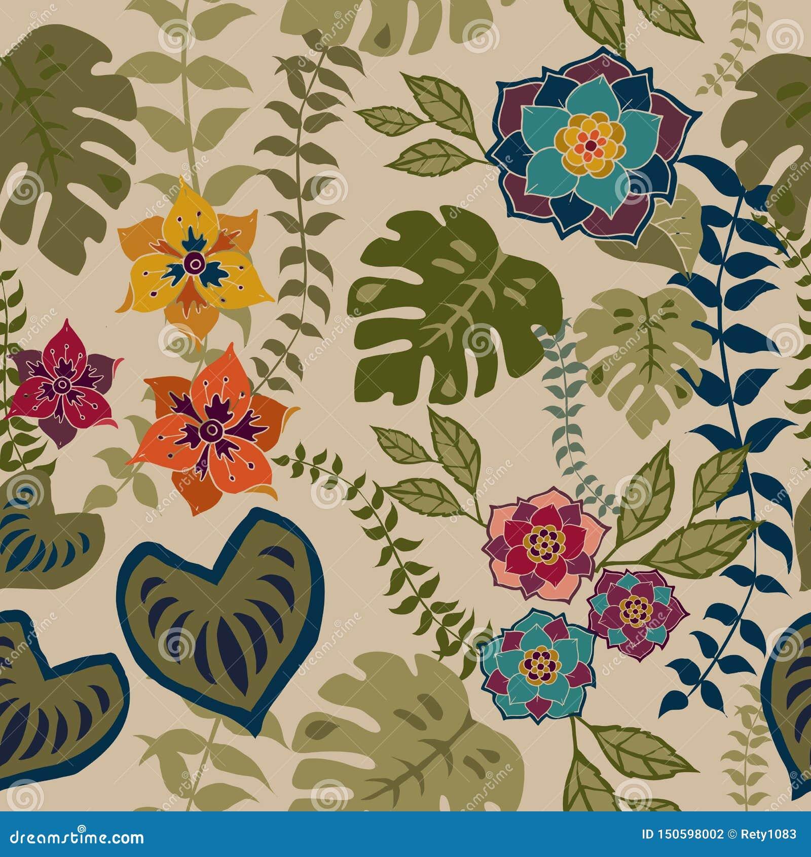 Nahtloses mit Blumenmuster Tropival, Herbstblumen tauchen Muster-Hintergrund-romantisches Blumenwiederholungs-Muster für Textilen