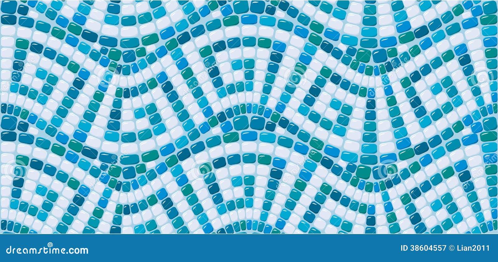 Nahtloses Mosaikmuster - blauer Keramikziegel