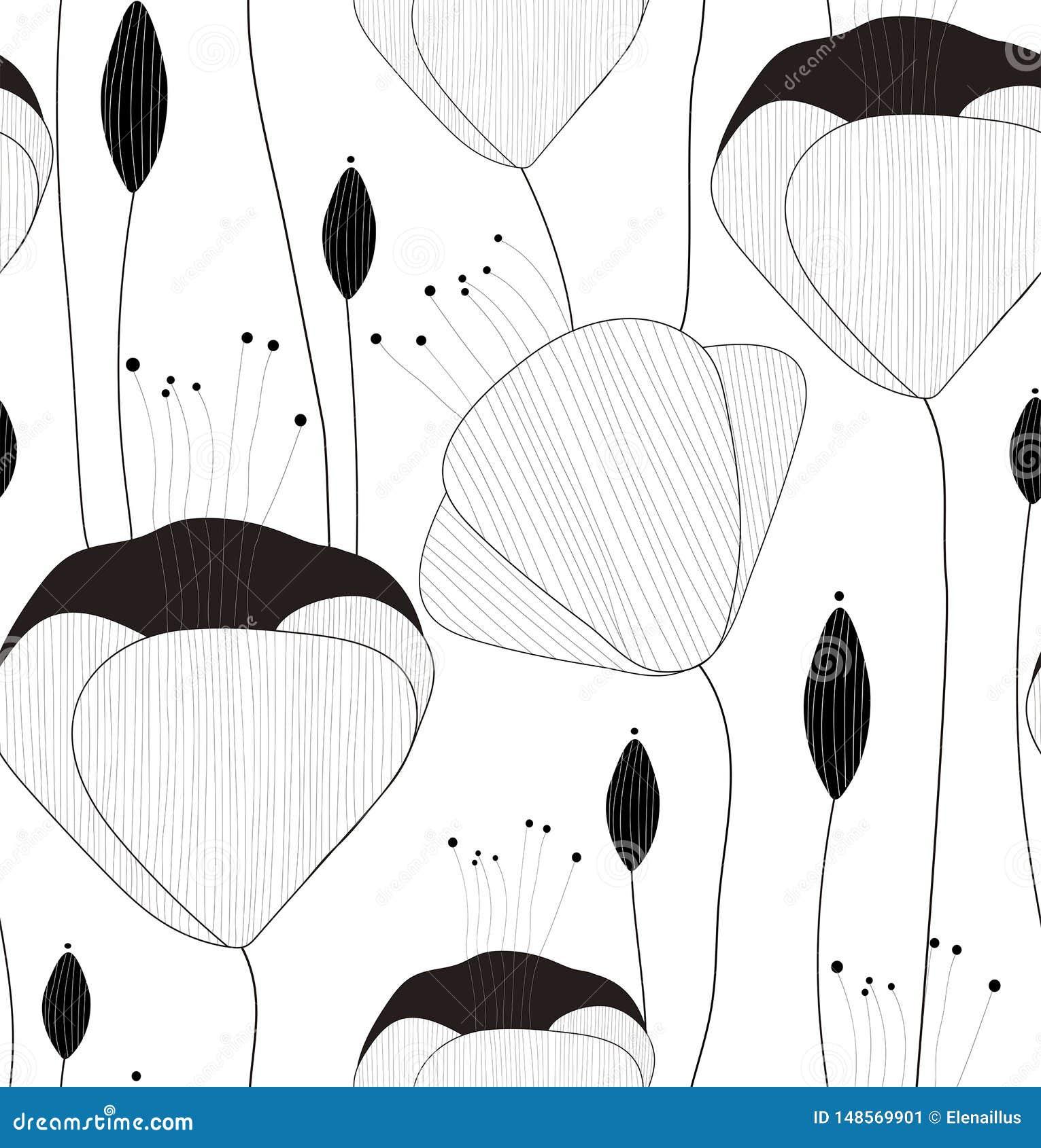 Nahtloses Muster, Beschaffenheit, Druck mit Handgezogenen Blumen und Knospen des Vektors auf dem weißen Hintergrund