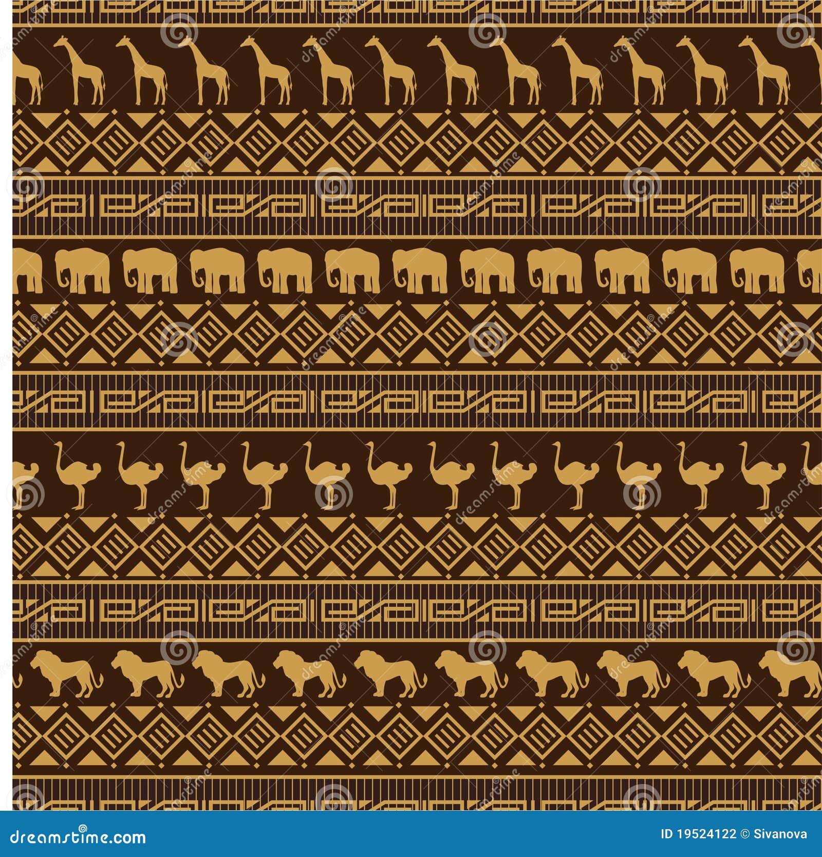 Nahtloses Muster Der Afrikanischen Art Mit Wilden Tieren ...