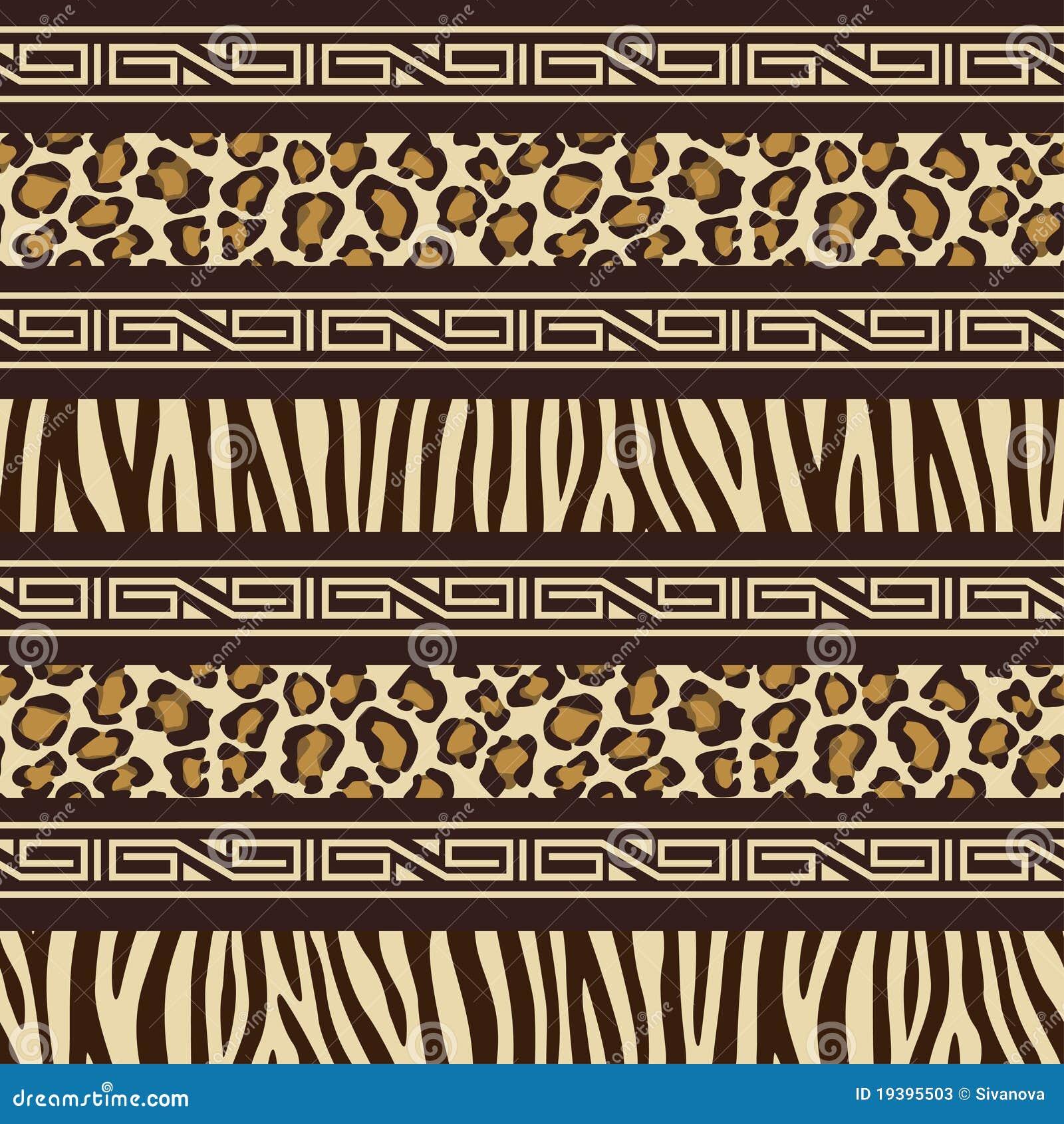 Nahtloses Muster Der Afrikanischen Art Mit Wilden Tieren S
