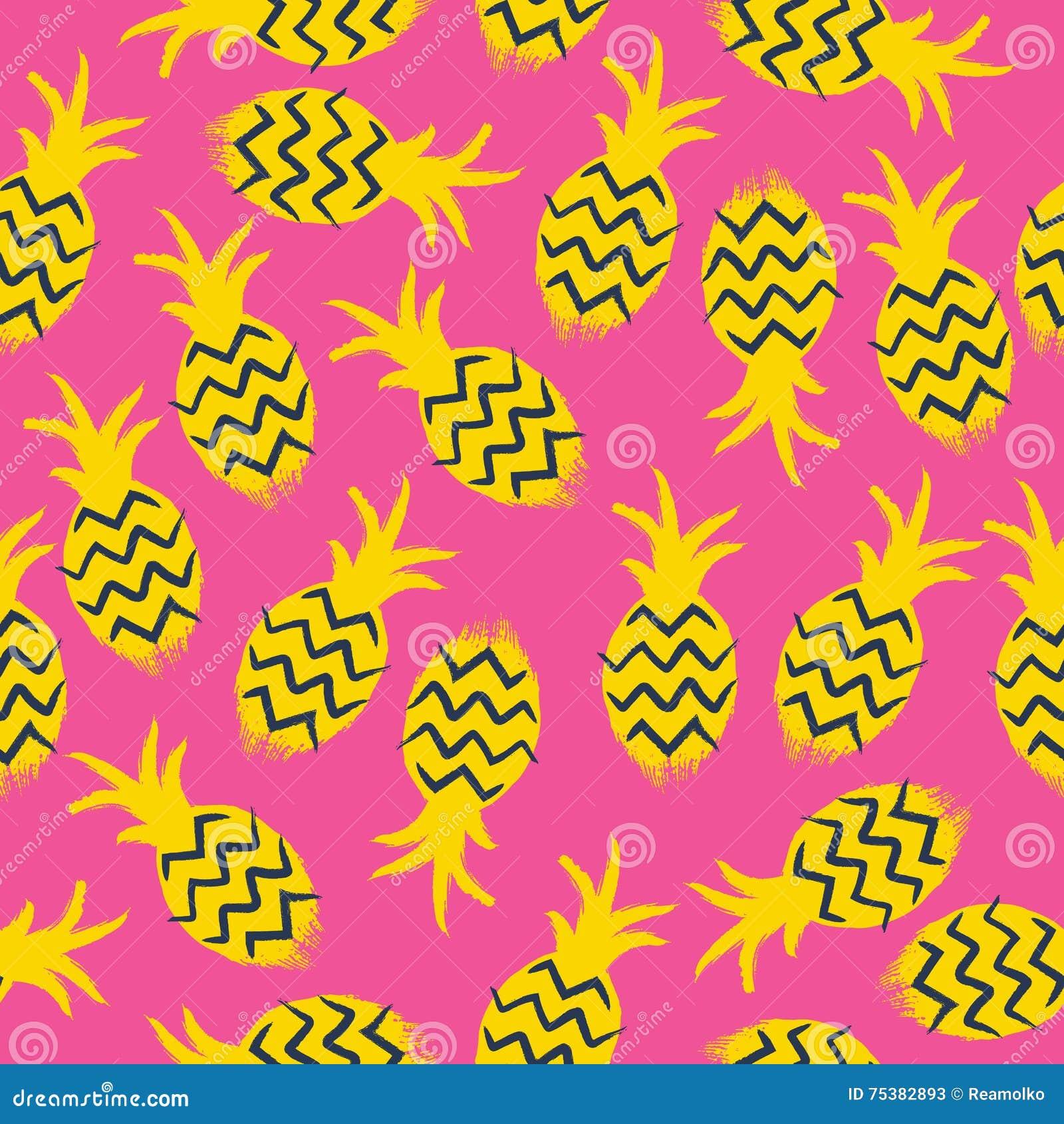 Nahtloses Muster Der Ananas Tropen Tragen Hintergrund Früchte Vektor