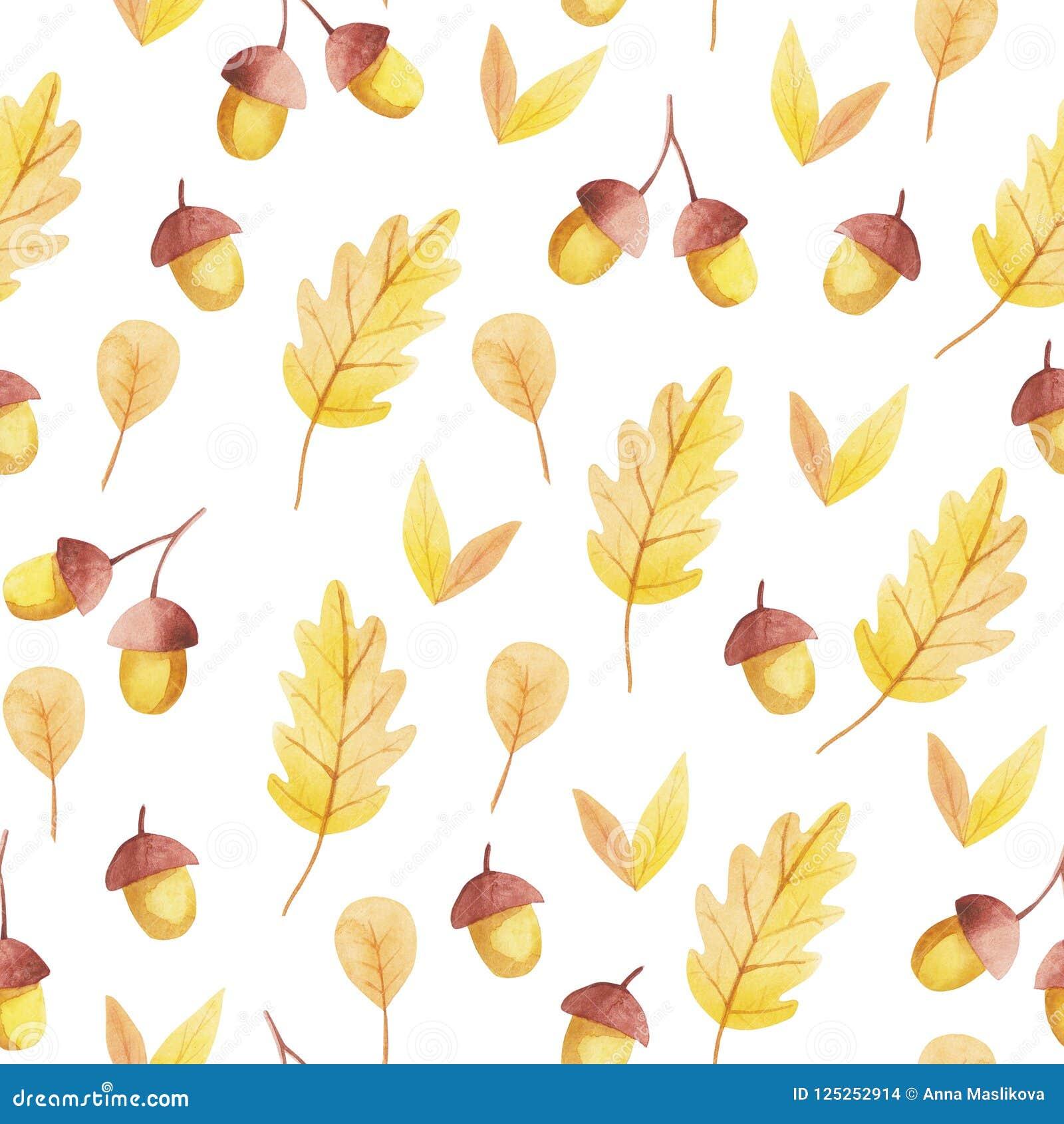 Nahtloses Muster der Eichel und des gelben Blattes Fall-Schwingungen