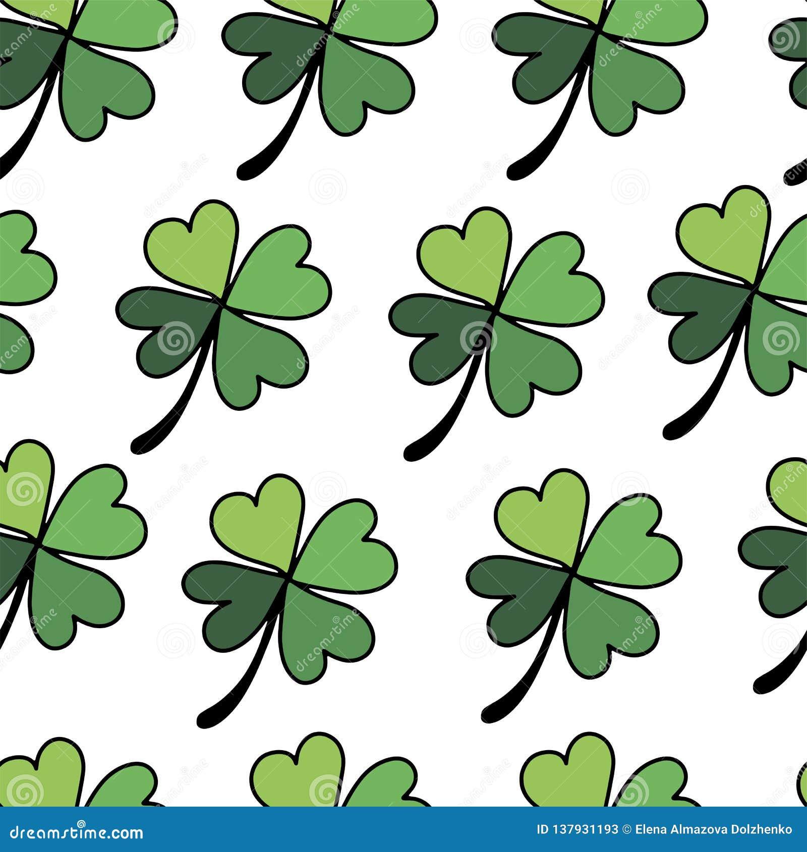 Nahtloses Muster der flachen Art des Klees für glücklichen Tag St. Patricks