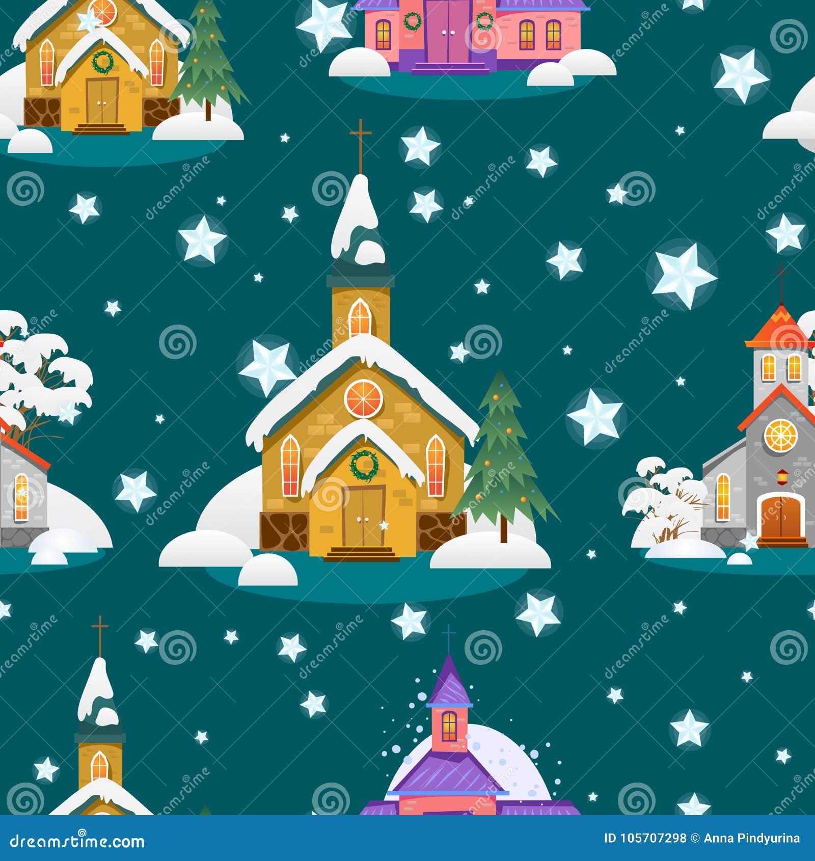 Weihnachten Im Christentum.Nahtloses Muster Der Frohen Weihnachten Und Des Guten Rutsch Ins