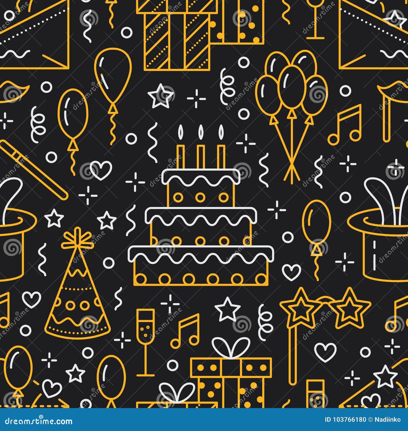 Nahtloses Muster der Geburtstagsfeier, flaches Zeilendarstellung Vector die Ikonen der Ereignisagentur und heiraten Organisation