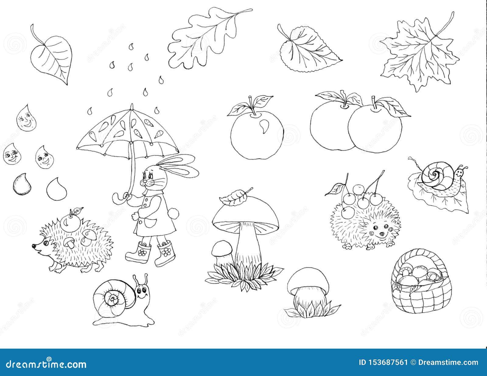 Nahtloses Muster der Herbstsaison Satz neun Vektorskizzen Herbstweg im Regen der Hase geht unter einen Regenschirm, Igele