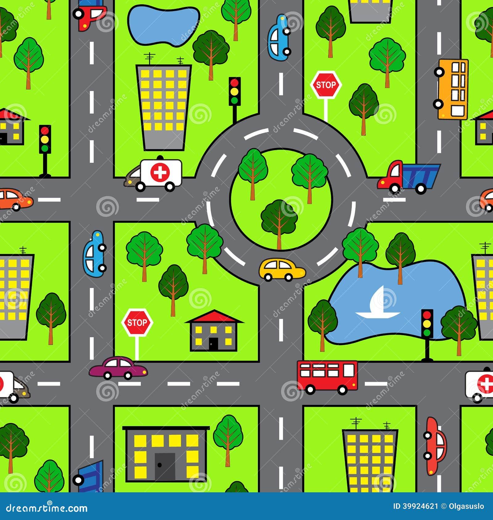 Nahtloses Muster der Karikatur mit heller Straße, dem Auto und der Stadt