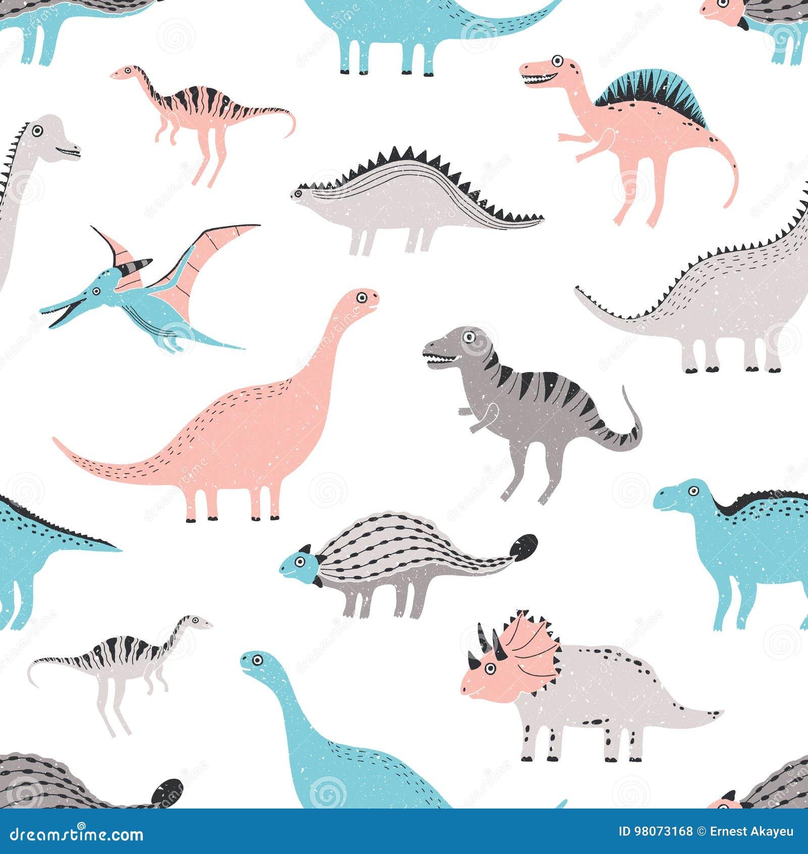 Nahtloses Muster Der Lustigen Dinosaurier Netter Kindischer Dino