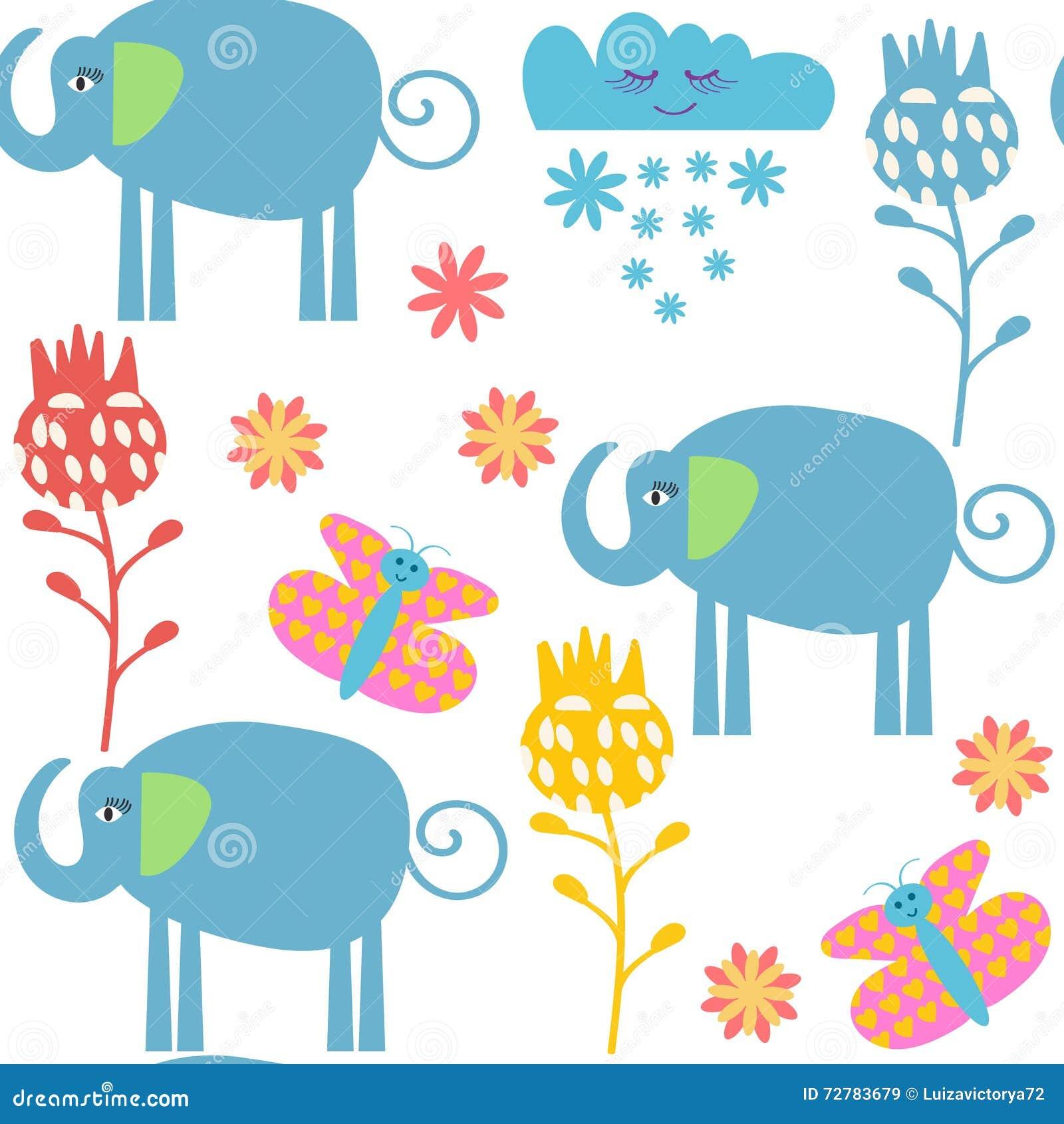 Nahtloses Muster der lustigen Elefanten und nahtloses Muster im Mustermenü,