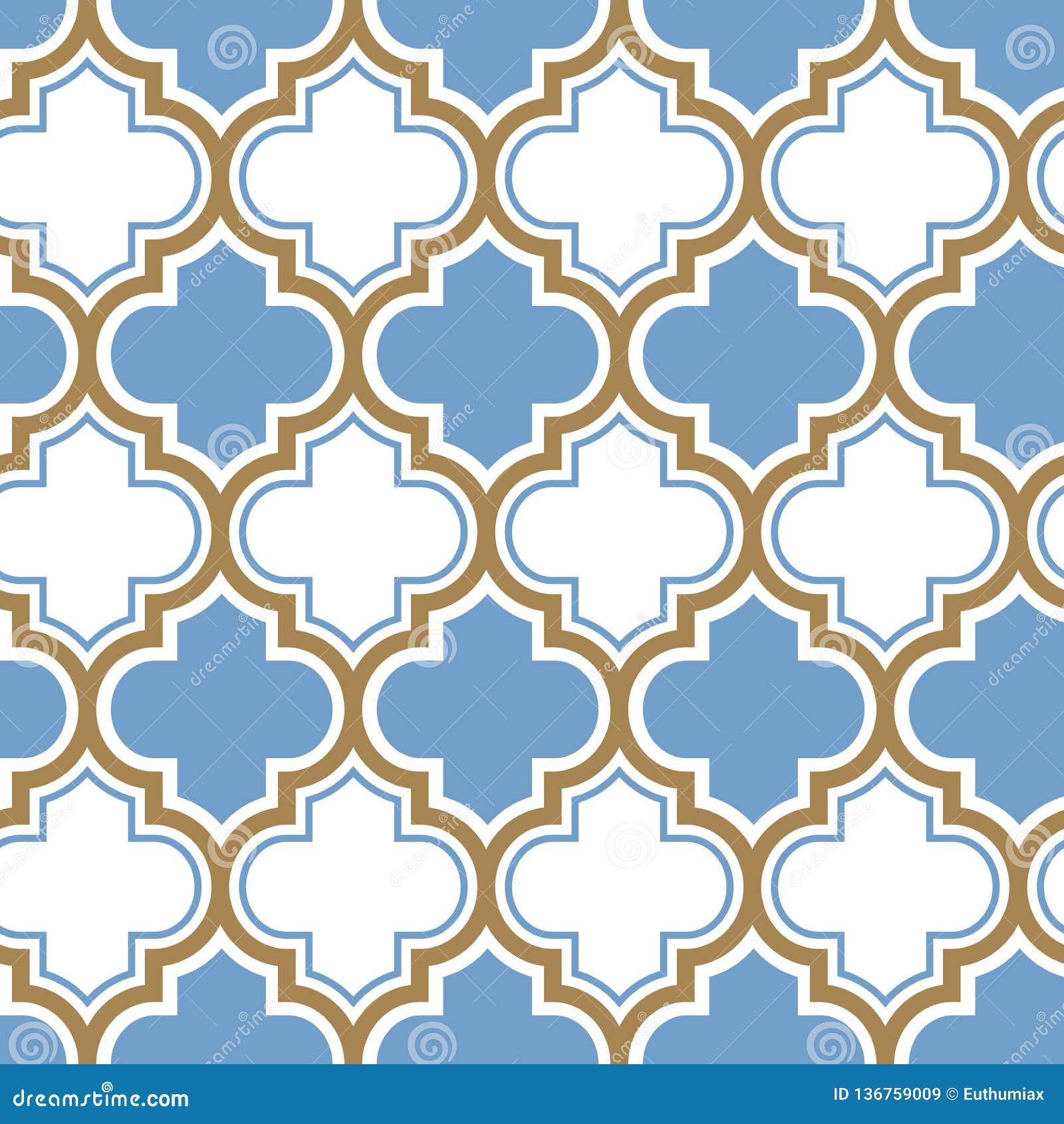 Nahtloses Muster der marokkanischen Wiederholung des Vektors Hellblau, Goldbeige Linie auf weißem Hintergrund