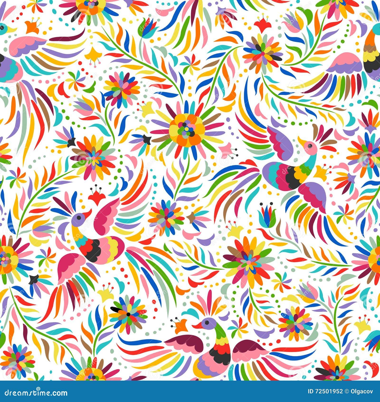 Nahtloses Muster der mexikanischen Stickerei des Vektors