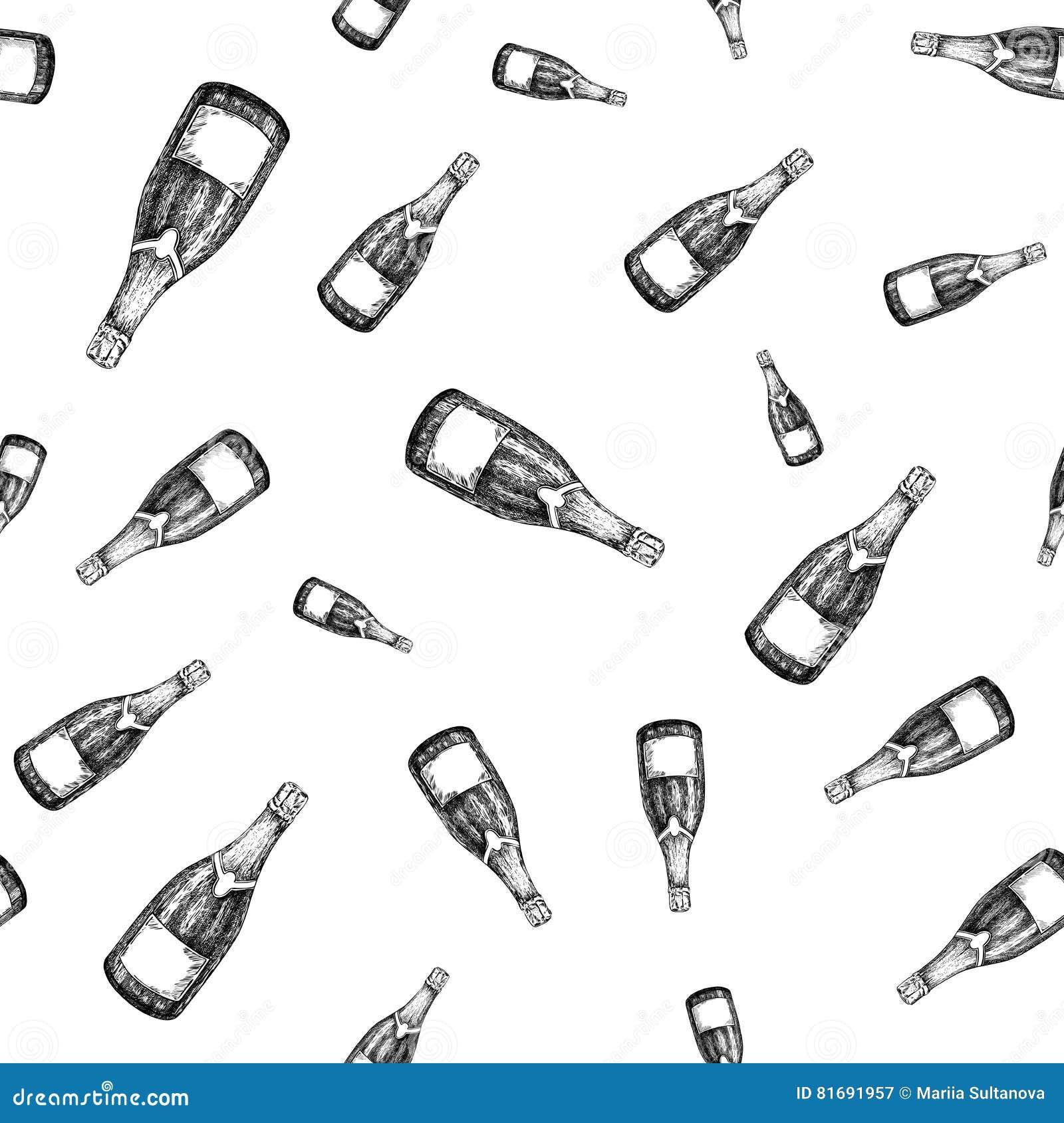 Nahtloses Muster der Sektflasche Hand gezeichnete lokalisierte Vektorillustration alcohol