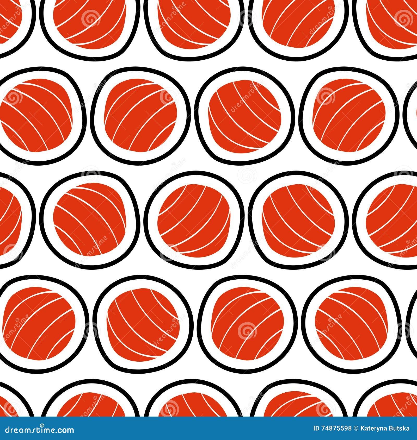 Nahtloses Muster der Sushi, Hand gezeichnet Emblem des japanischen Lebensmittels, Fischsnack, susi, exotisches Restaurant, Seepro