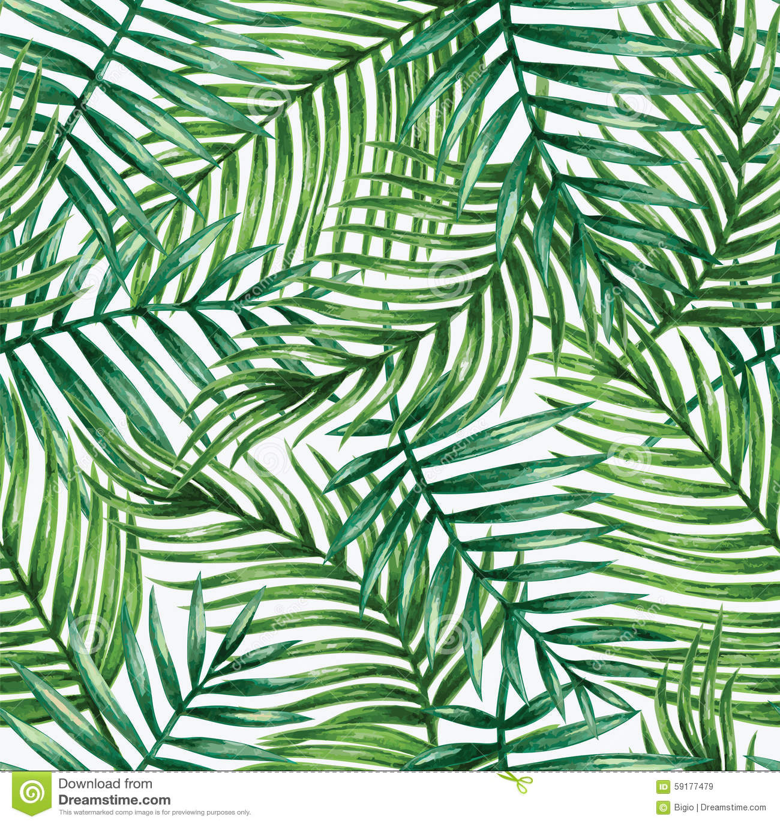 Nahtloses Muster der tropischen Palmblätter des Aquarells