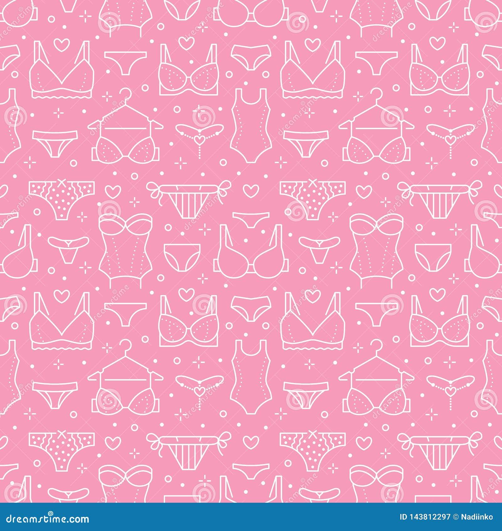 Nahtloses Muster der Wäsche mit flacher Linie Ikonen von BHarten, Schlüpfer Frauenunterwäschehintergrund, Vektorillustrationen