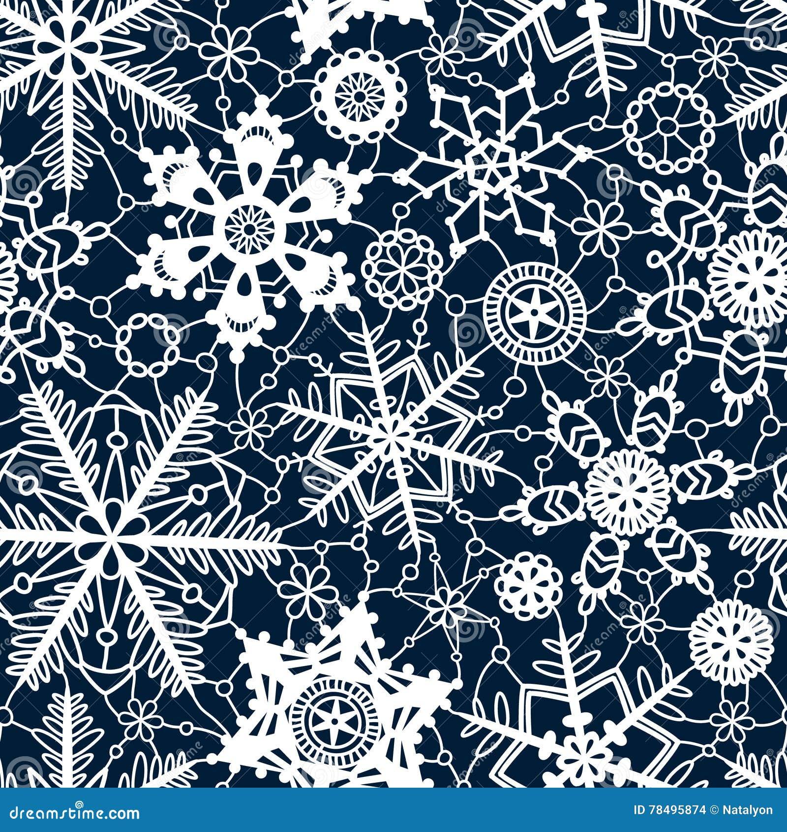 Nahtloses Muster der weißen Spitzehäkelarbeit-Schneeflocken auf Marineblau, Vektor
