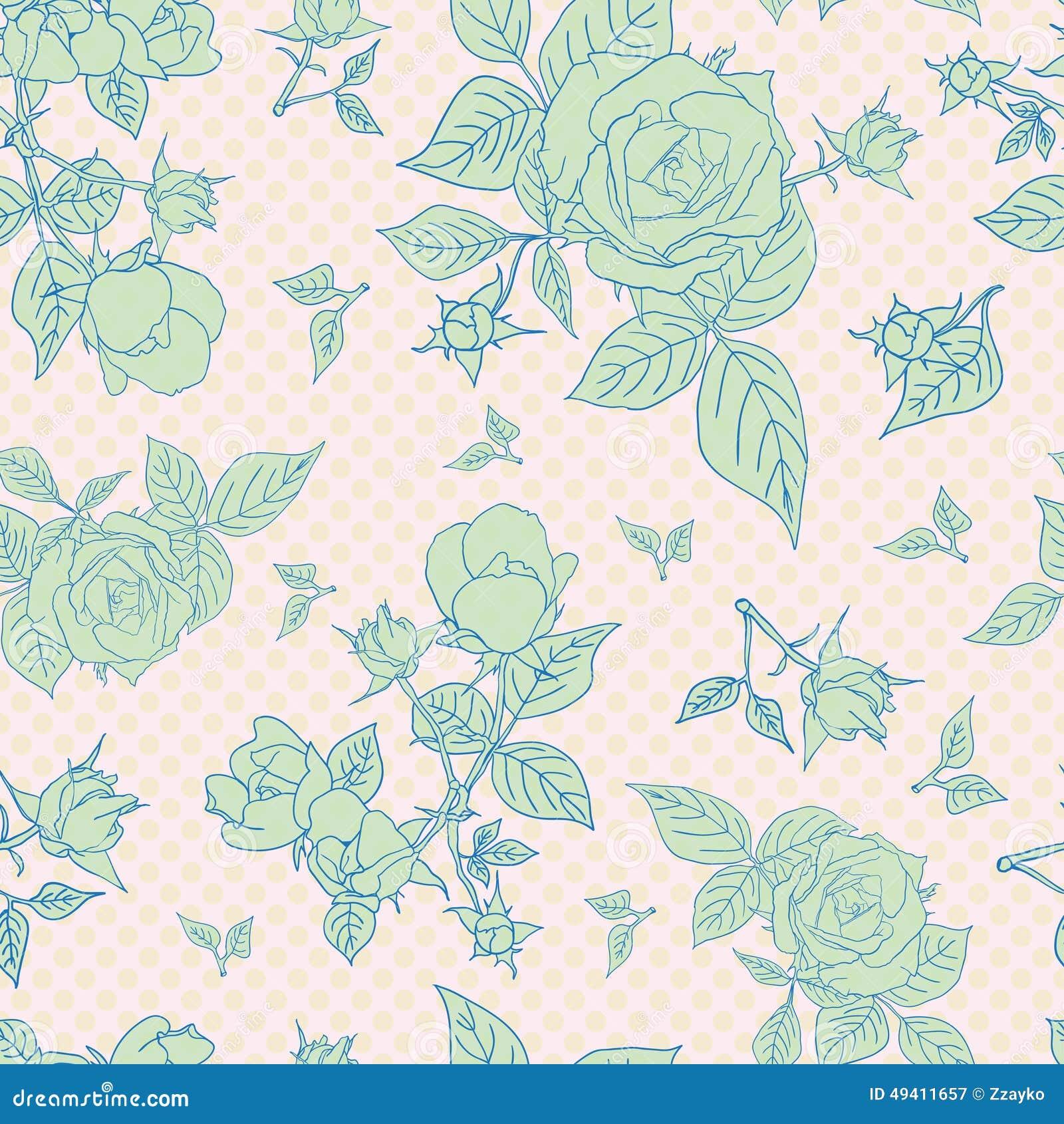 Download Nahtloses Muster Der Weinlese Mit Schönen Rosen Stock Abbildung - Illustration von floral, papier: 49411657
