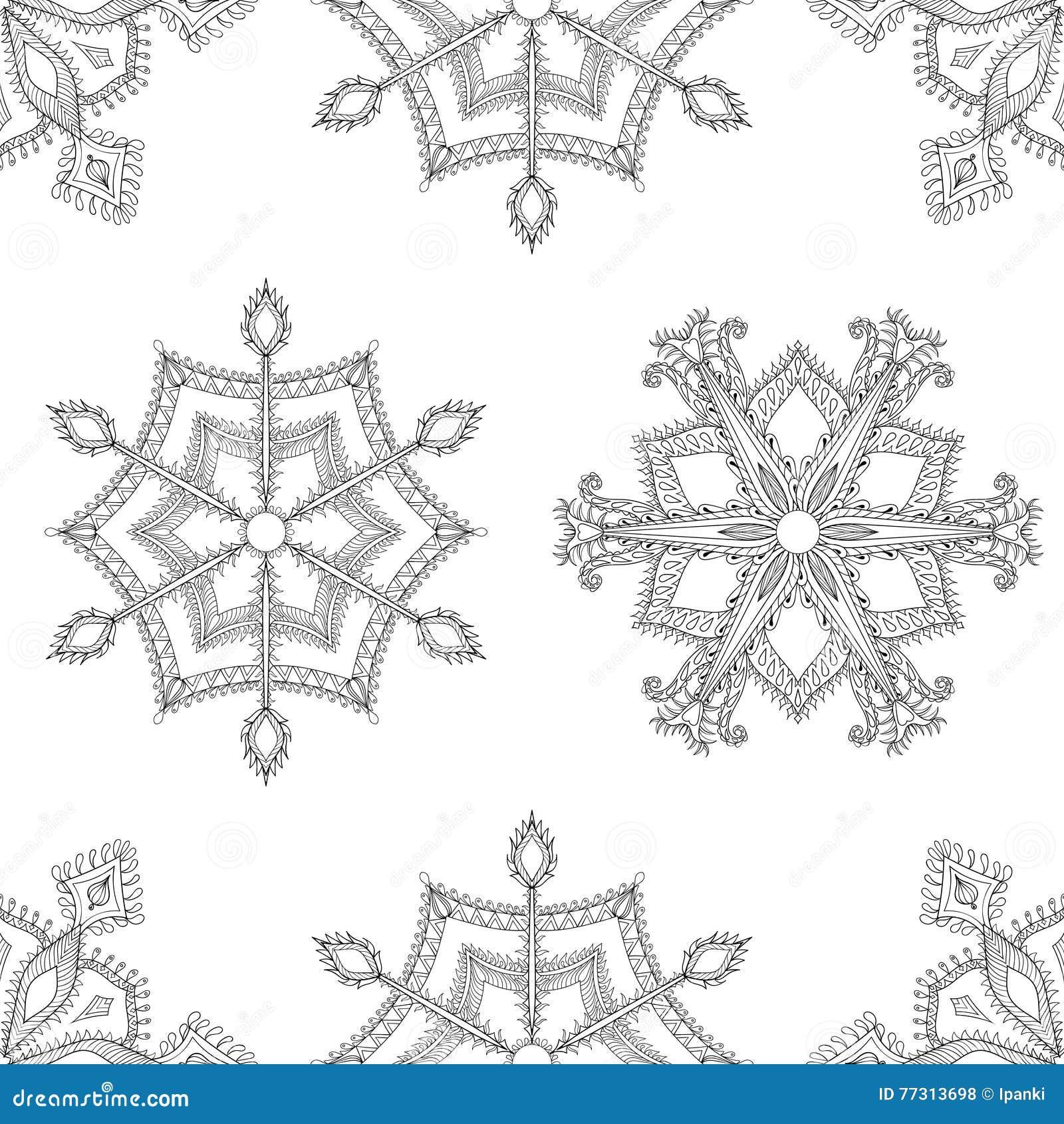 Nahtloses Muster Der Zentangle-Winter-Schneeflocken Für Weihnachten ...