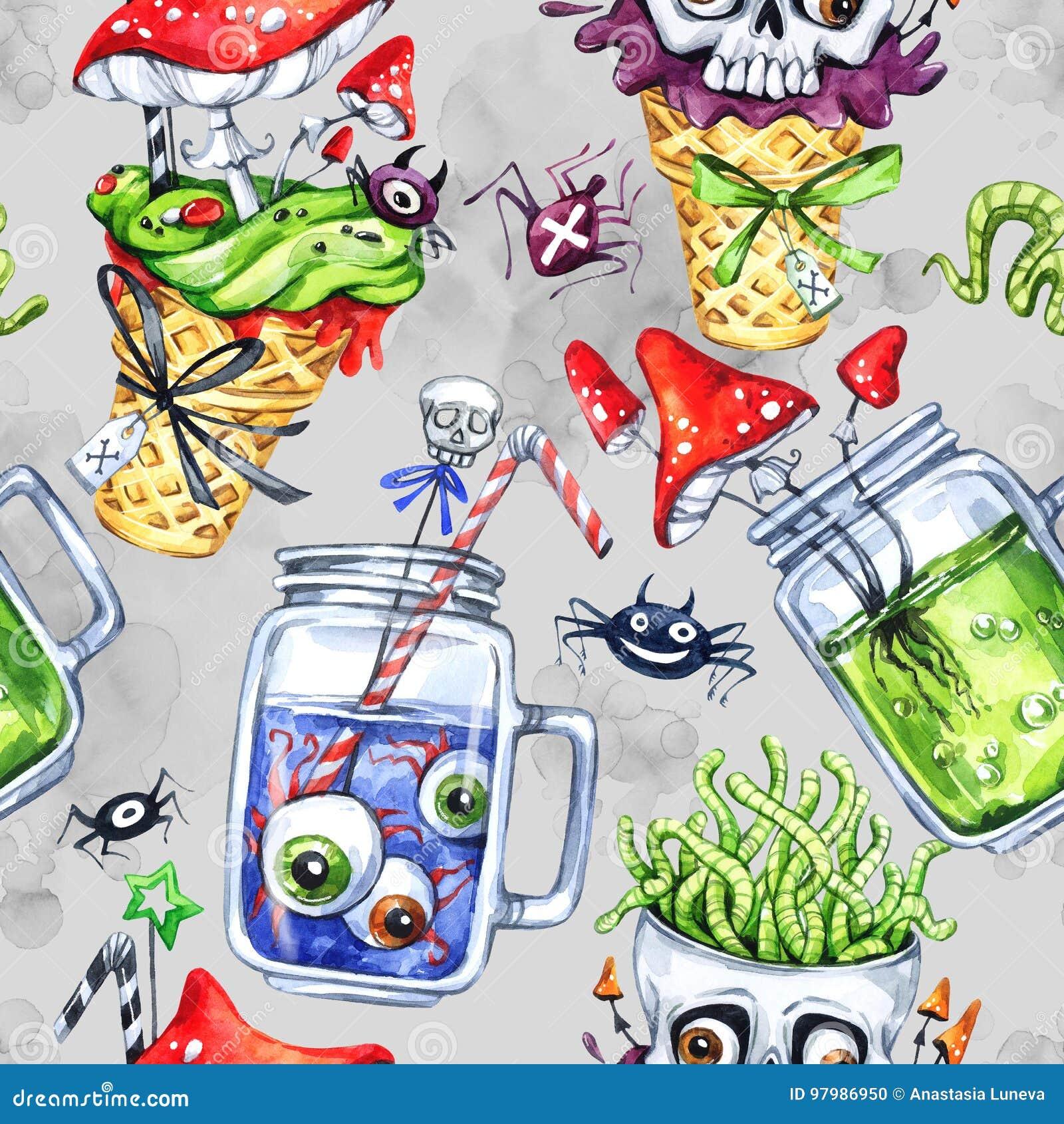 Nahtloses Muster des Aquarells, Kegel mit dem Schädel, Glasschalen mit Trank, Augen, Wulstlinge Halloween-Feiertagsillustration