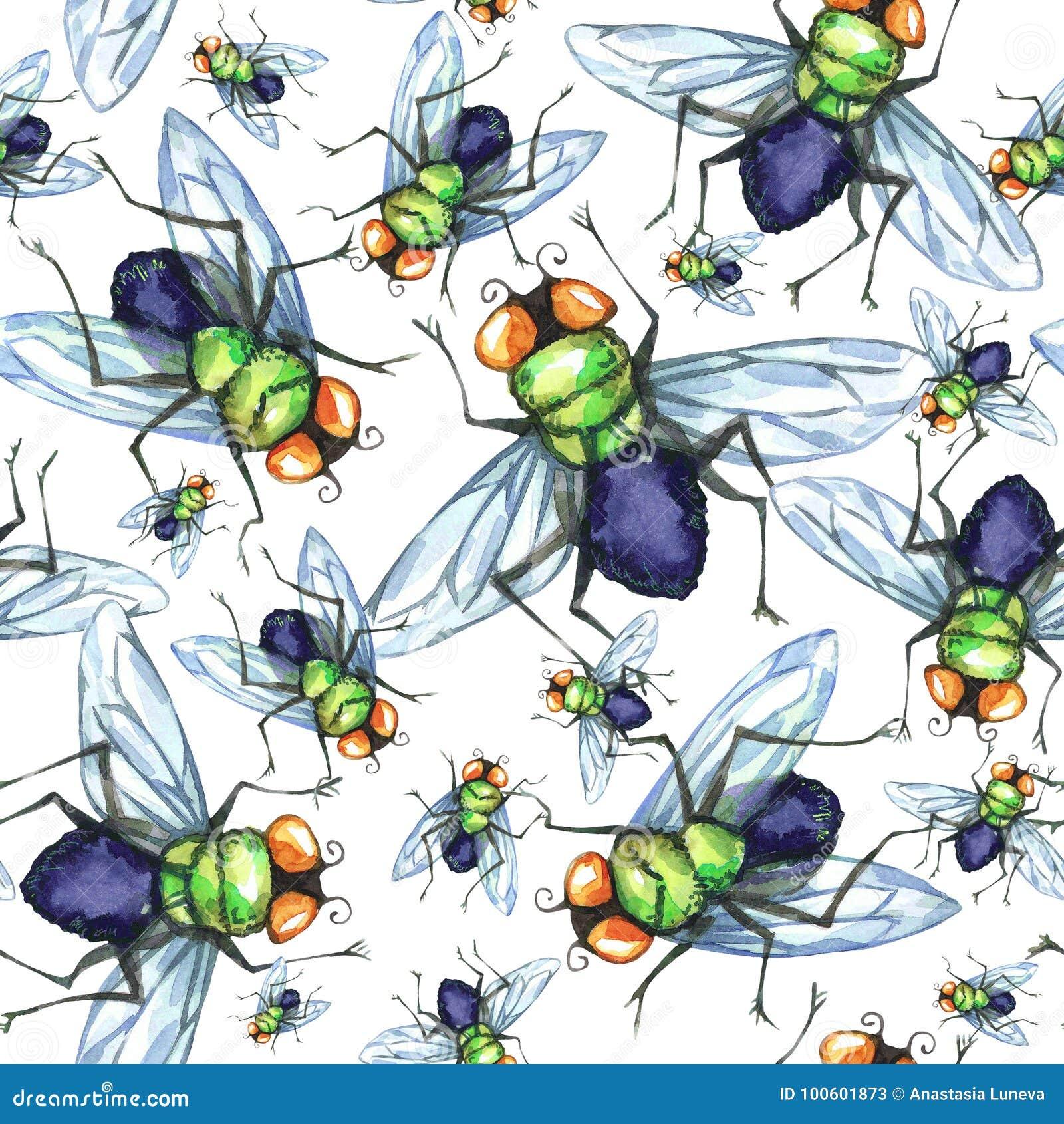 Nahtloses Muster des Aquarells, Menge von Fliegen Halloween-Feiertagsillustration lustige Insekte Kann als Postkarte verwendet we