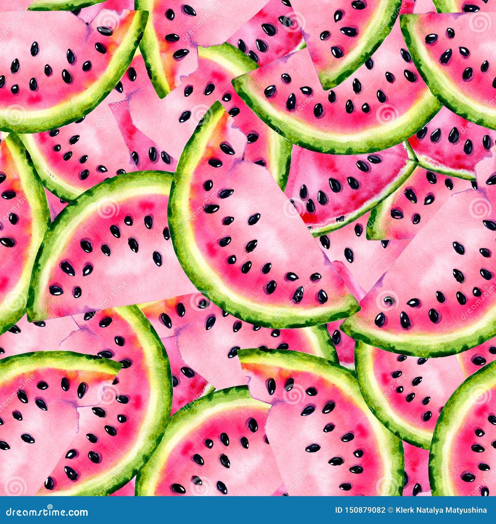 Nahtloses Muster des Aquarells mit dem Bild einer Wassermelone Saftige Masse und Samen für Druckentwurf, Fahne, Plakat, Abdeckung