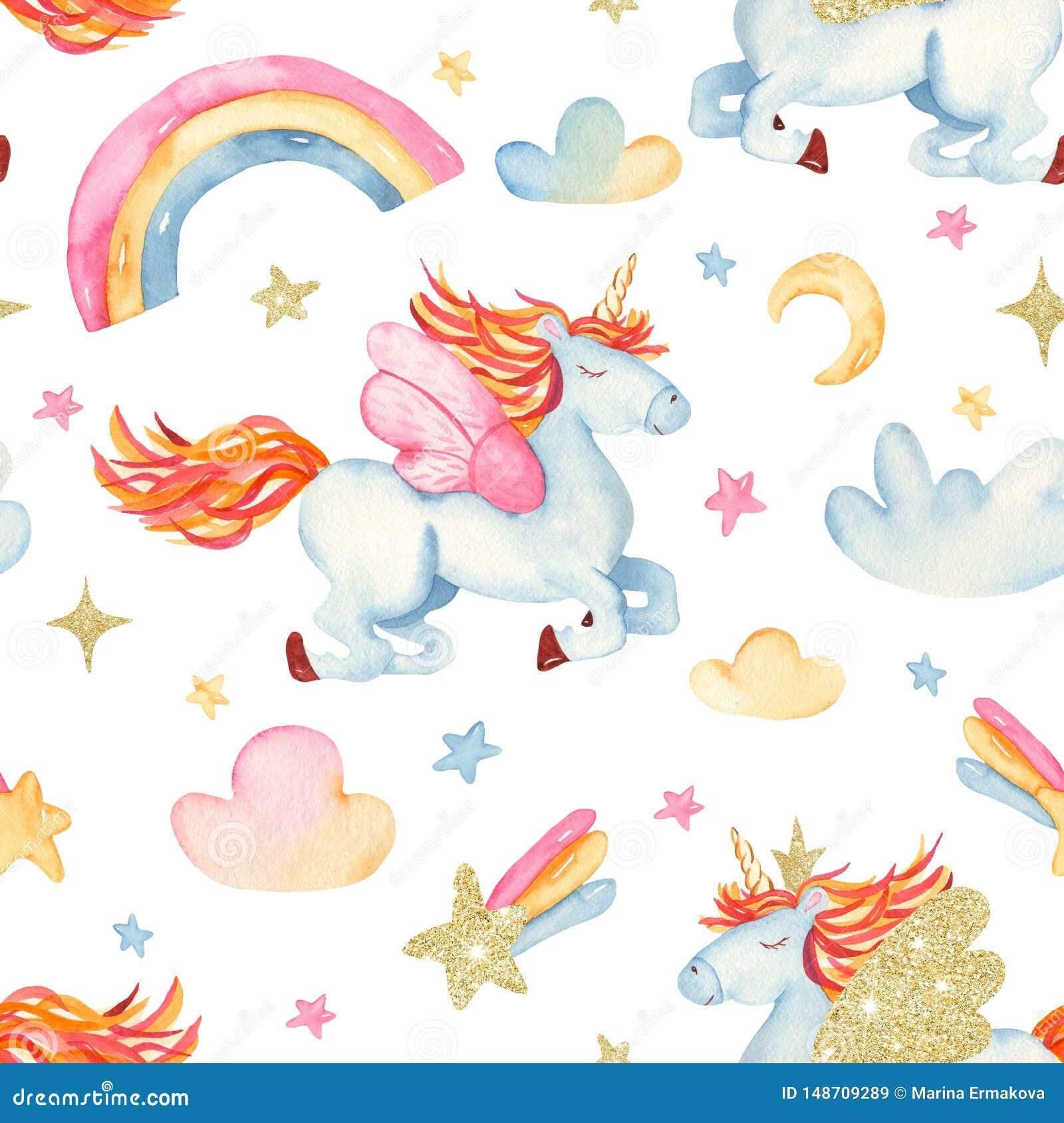 Nahtloses Muster des Aquarells mit romantischem Einhorn der netten Karikatur, Regenbogen, Sterne, Wolken