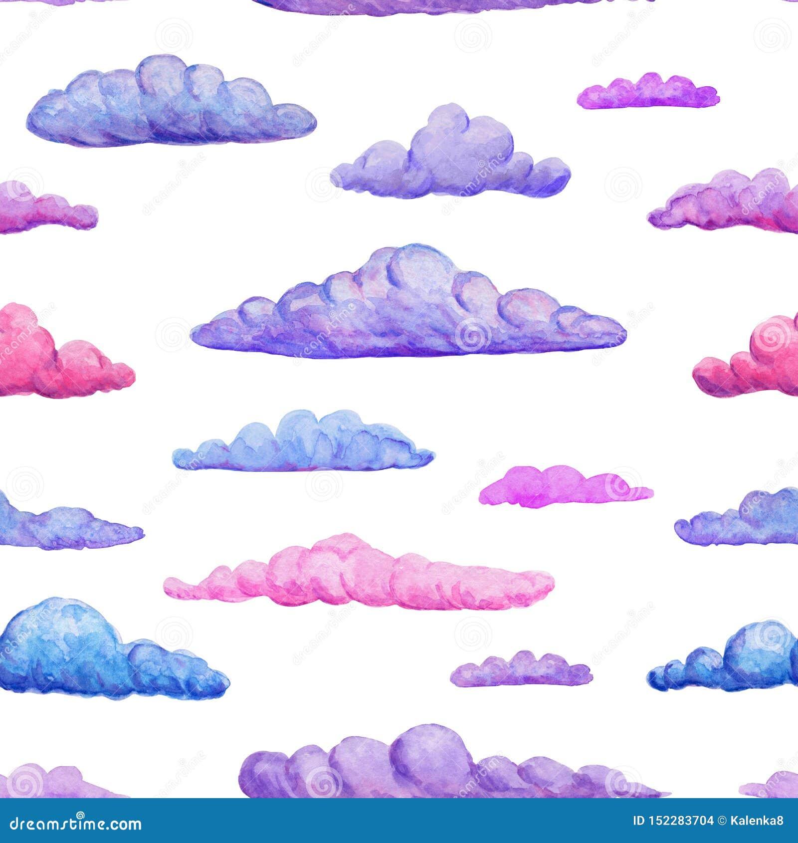 Nahtloses Muster des Aquarells von leichten rosa purpurroten und blauen Wolken auf weißem Hintergrund Aquarellpastellwolkenhinter