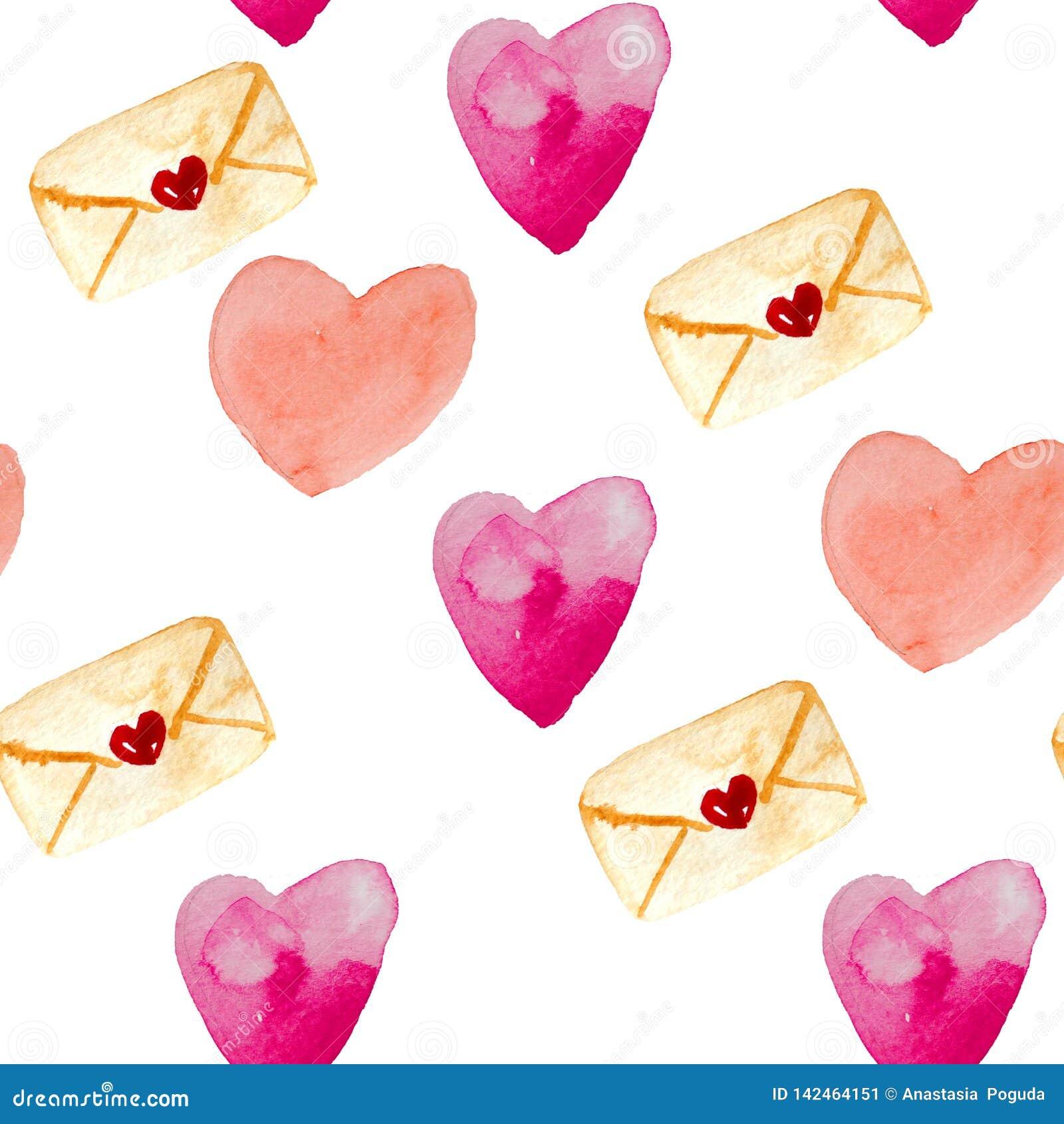 Nahtloses Muster des Aquarells von Umschlägen, Herzen in den roten und rosa Farben