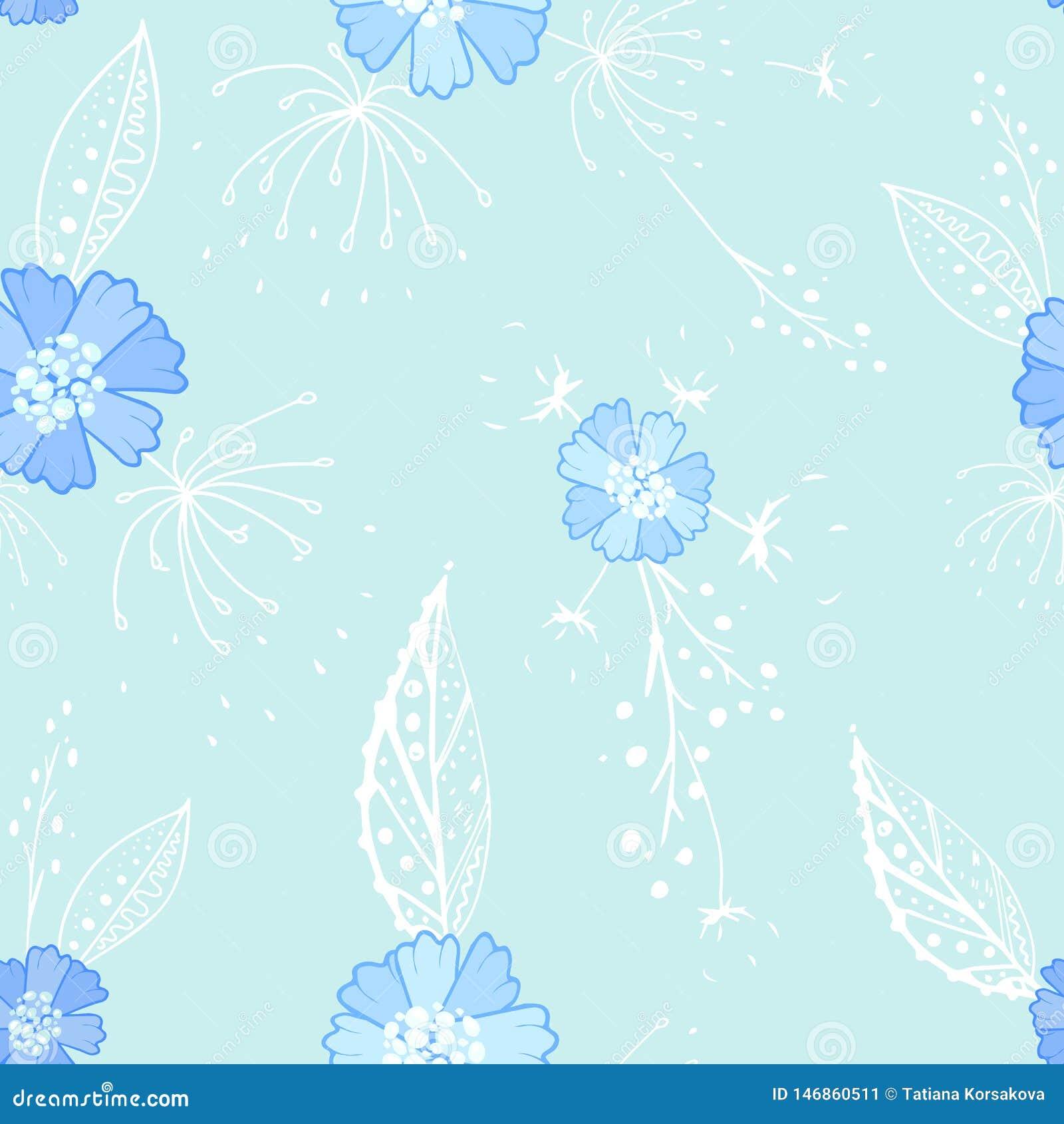 Nahtloses Muster des blauen Blumengekritzels