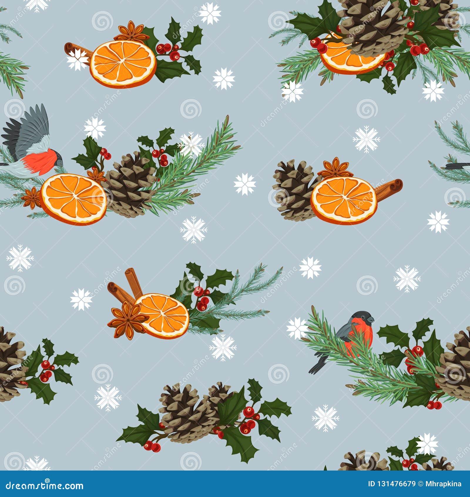 Nahtloses Muster des Feiertagswinters Nahtloses Muster mit Winteranlagen und -vögeln