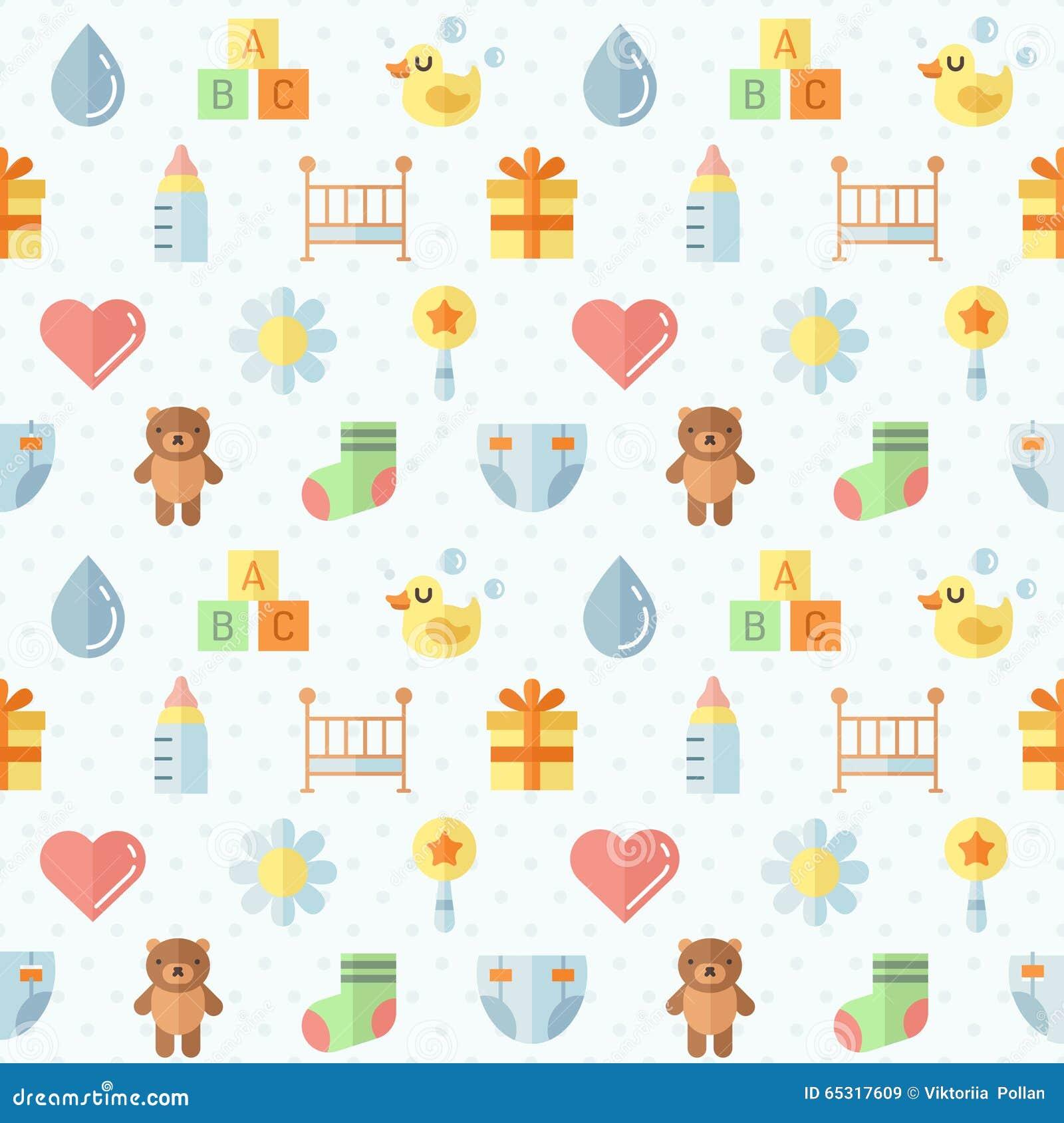 Nahtloses Muster des flach mehrfarbigen netten Vektors des Materials des Babys (Mädchen und Junge) Minimalistic-Design Teil zwei