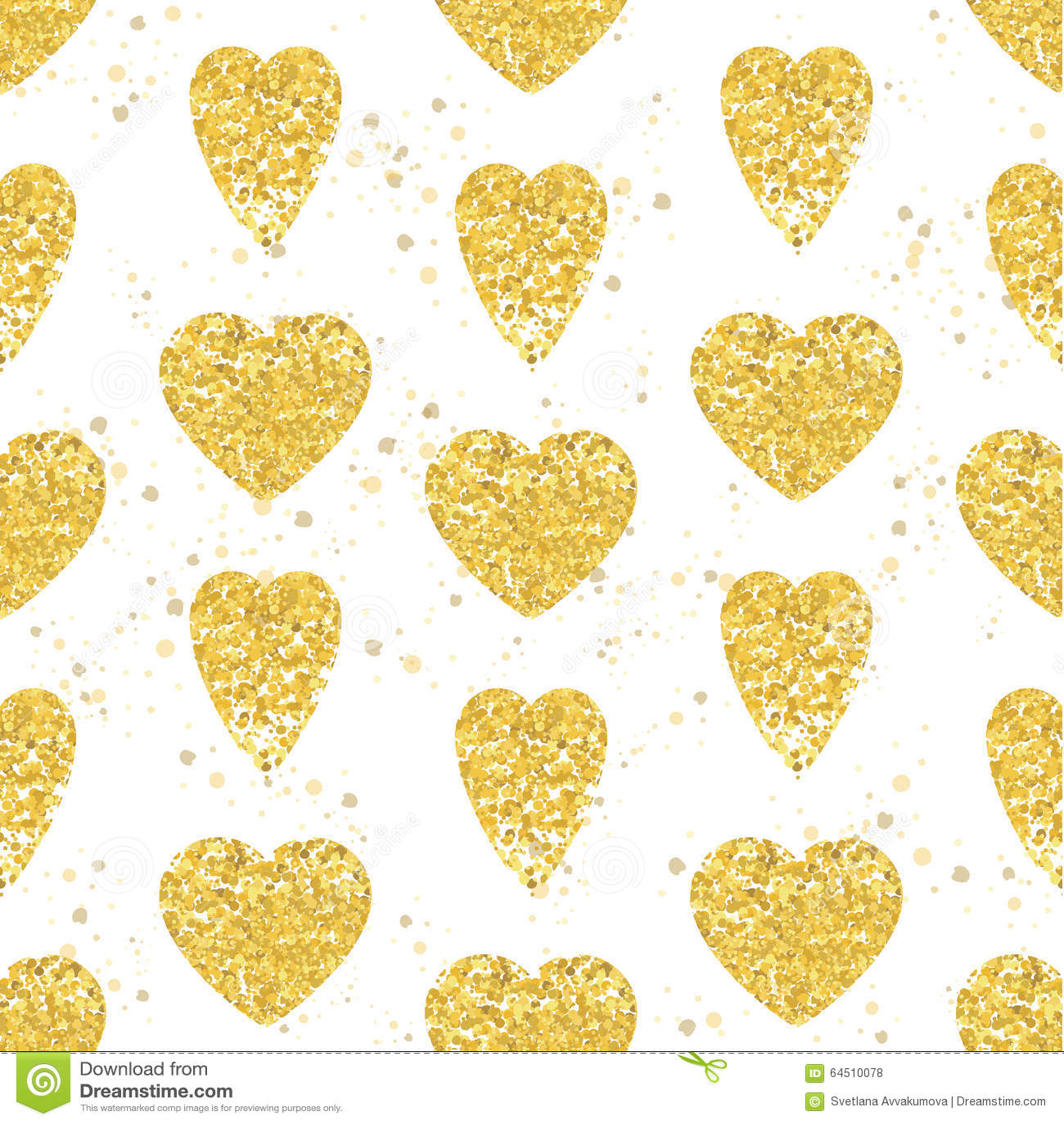 Nahtloses Muster Des Goldenen Herzens Weißer Hintergrund Vektor ...