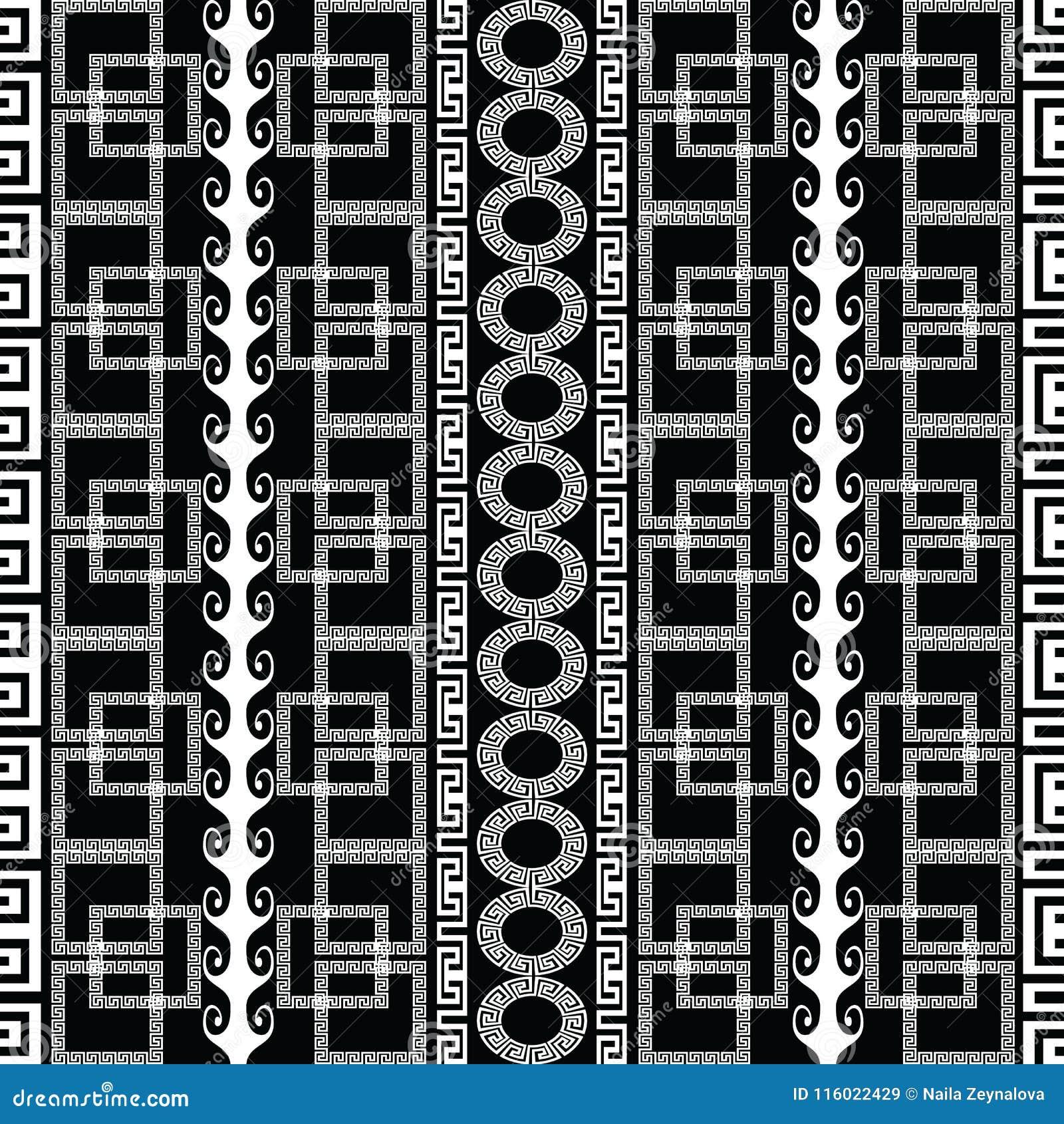 Nahtloses Muster des griechischen geometrischen Schwarzweiss-Vektors modern